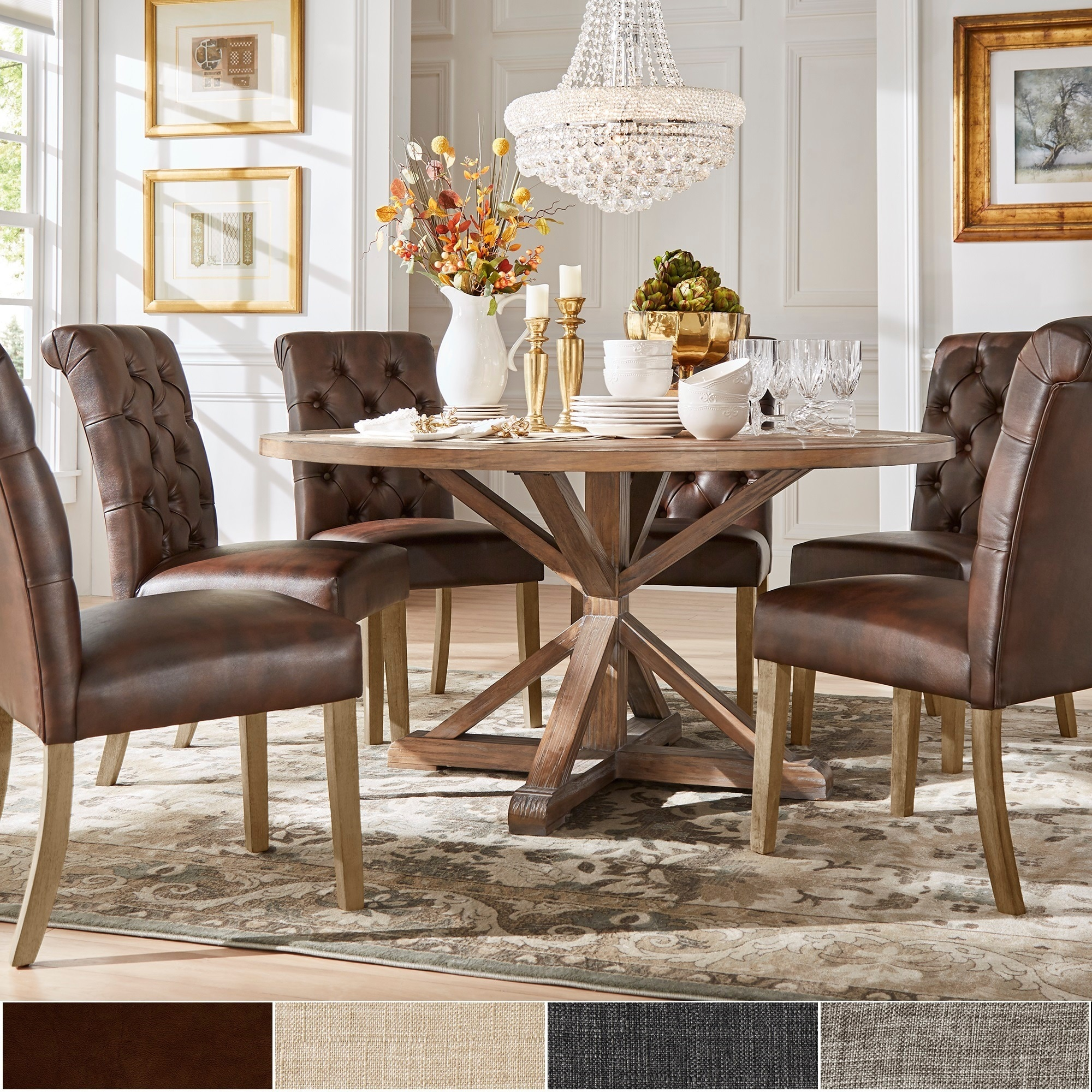 Benchwright Rustic X Base Round Pine Wood Rolled Back 7 Piece Dining Set By  INSPIRE Q Artisan   Free Shipping Today   Overstock   17228681