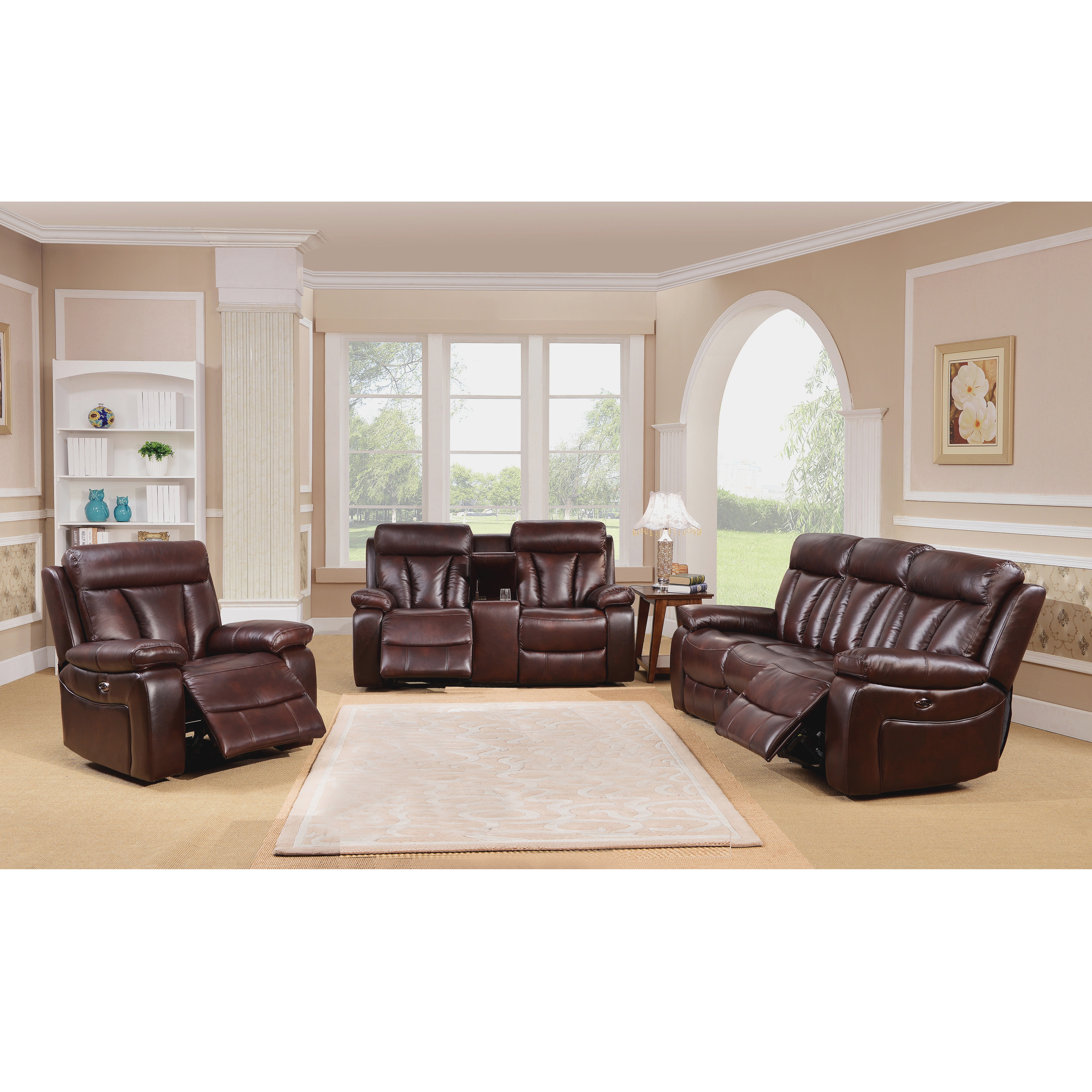 Zenith Brown Top Grain Leather Power Motorized Lay flat Reclining