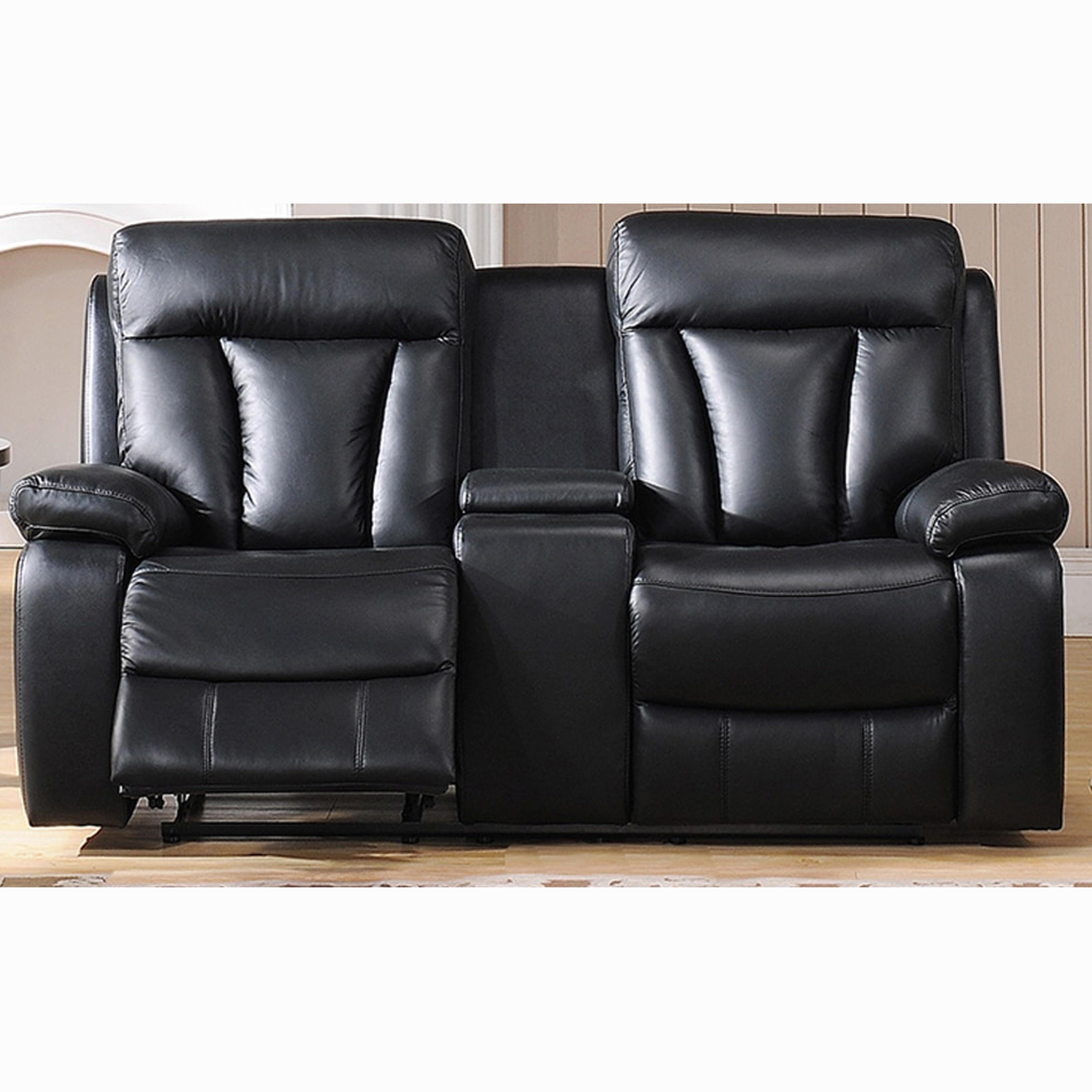 Vedder Black Top Grain Leather Power Motorized Lay Flat Reclining  ~ Motorized Reclining Sofa