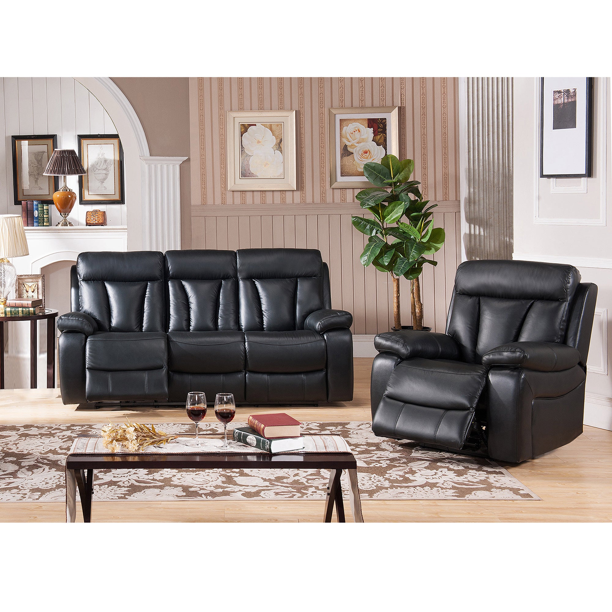 Vedder Black Top Grain Leather Motorized Lay Flat Reclining Sofa And Recliner Free Shipping Today 10085872