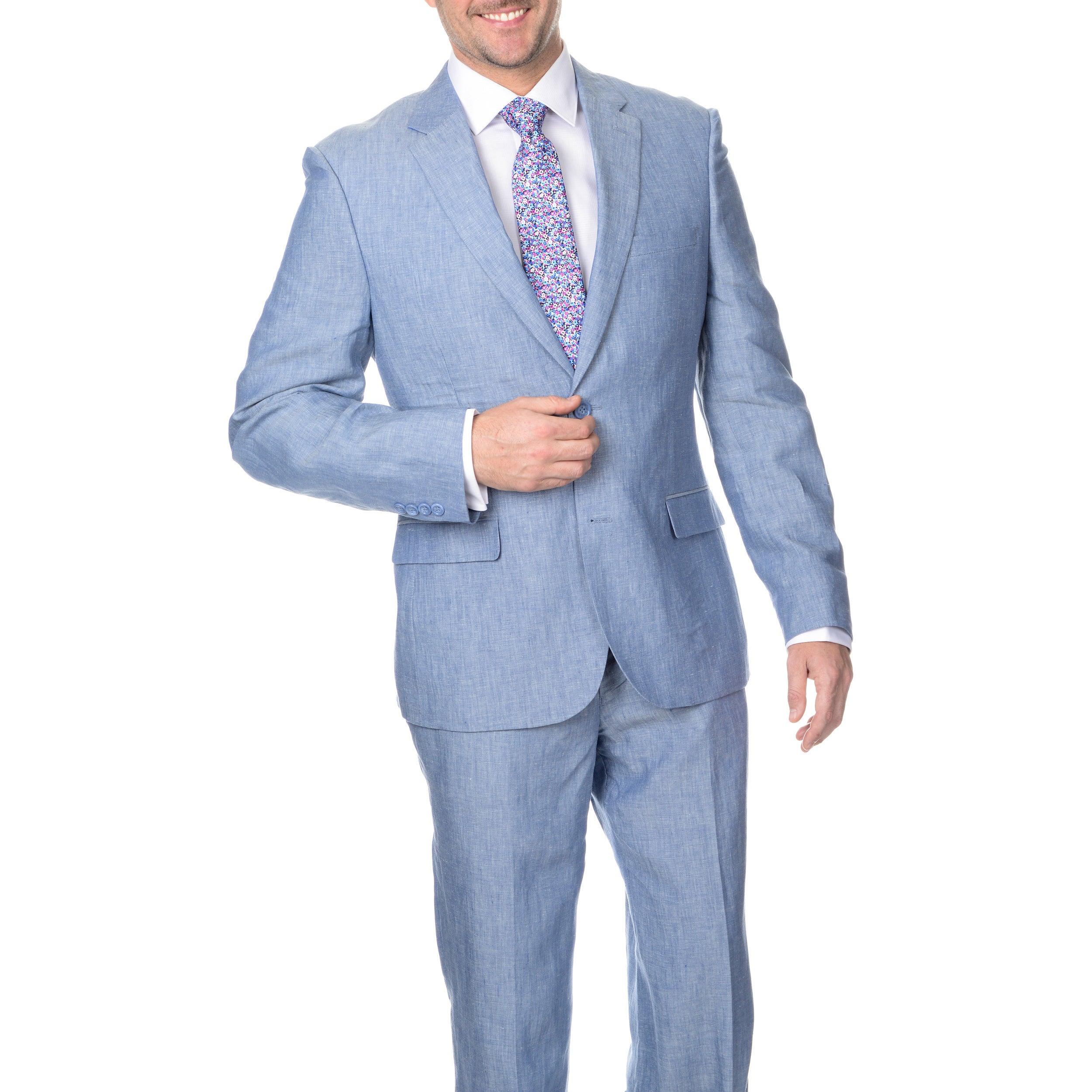 Shop Reflections Men\'s Blue 2-button Linen Suit - On Sale - Free ...
