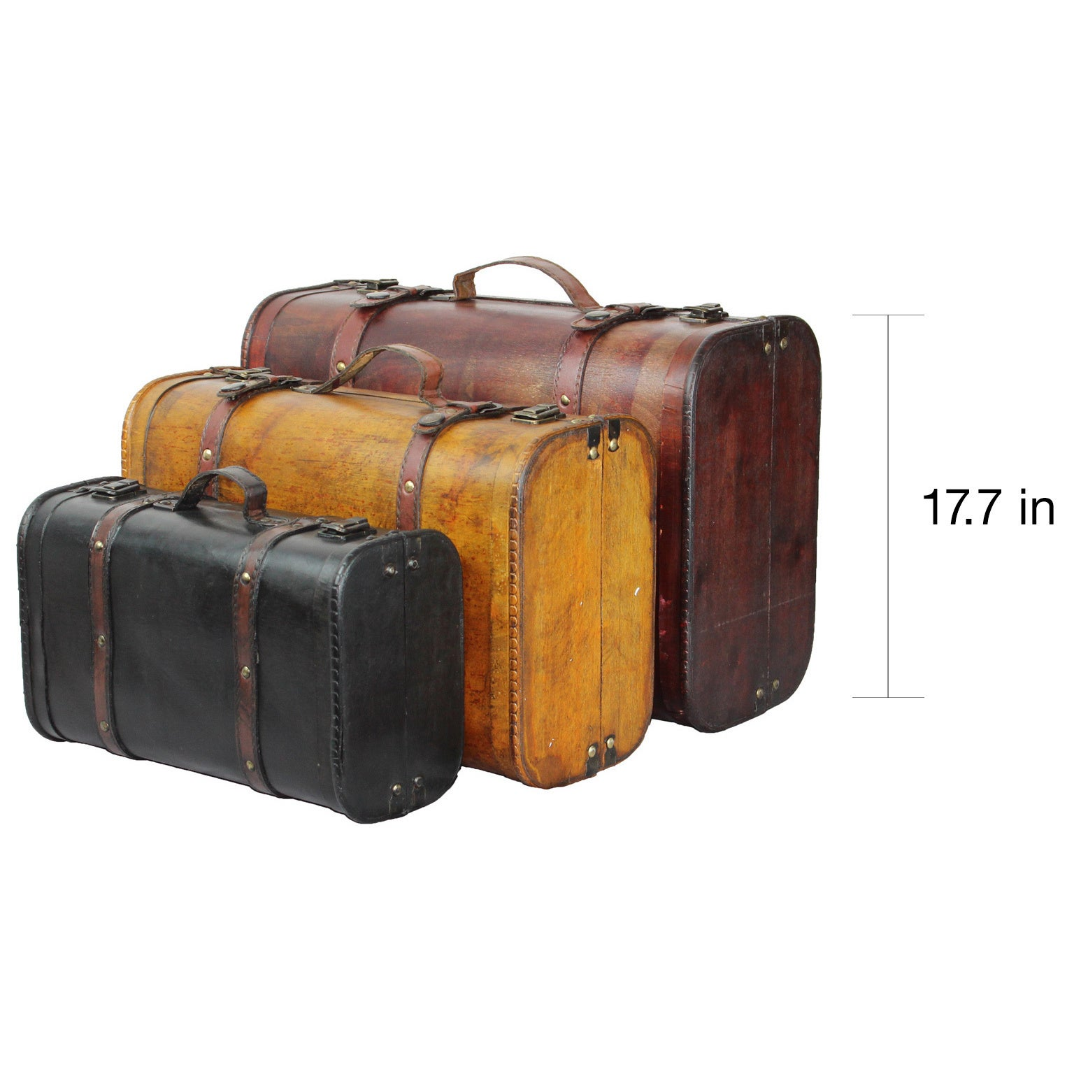 Three Colored Vintage Style Luggage Suitcase (Set Of 3)   Free Shipping  Today   Overstock.com   17231107