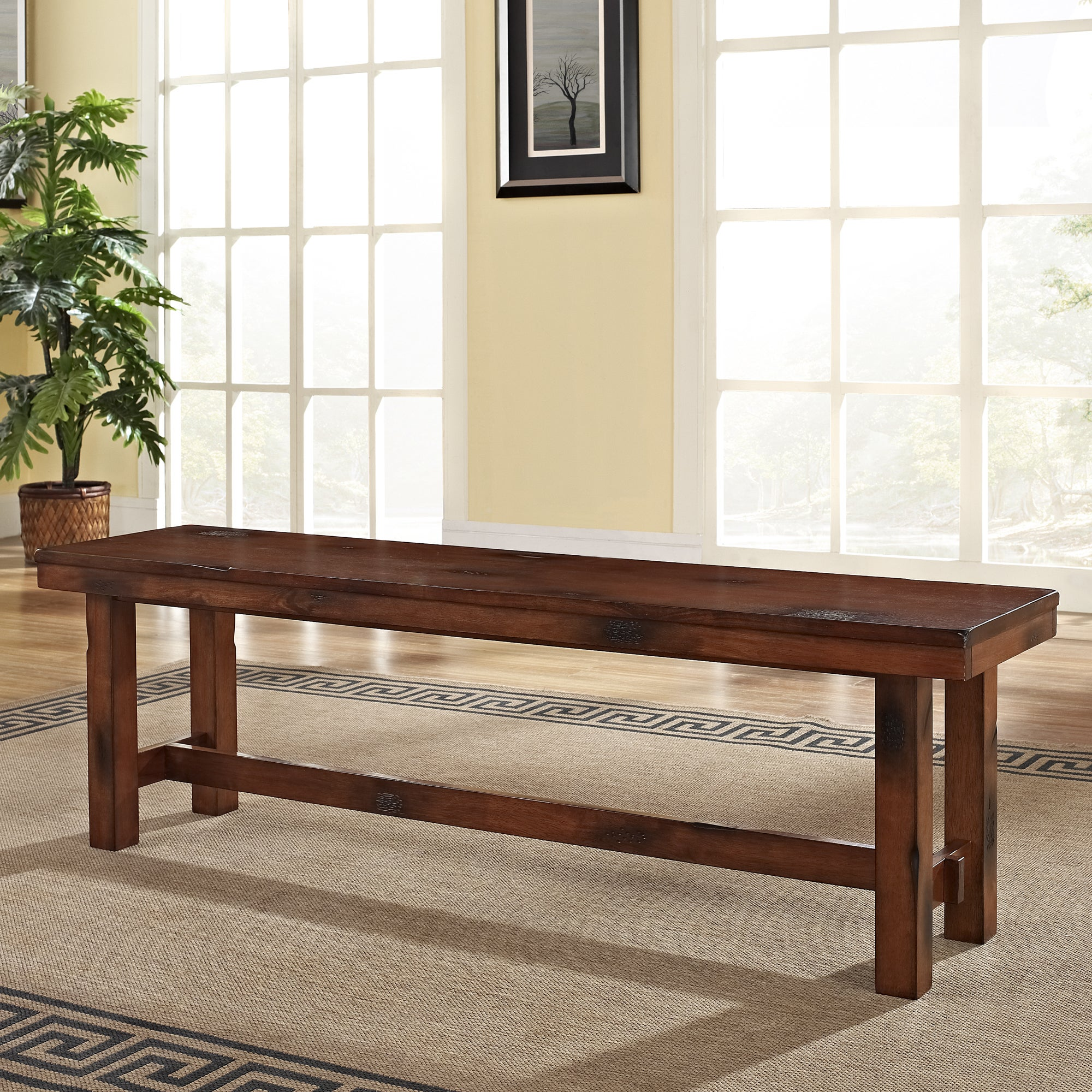 Superbe Shop Rustic Dark Oak Wood Dining Bench   Free Shipping Today    Overstock.com   10092017