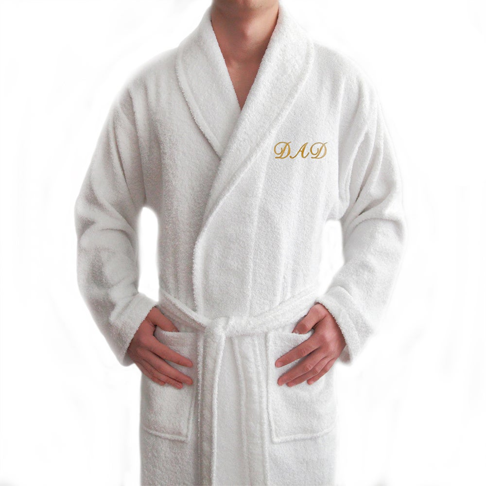 274cbd09a9 Shop Authentic Hotel and Spa  Dad  Monogrammed White Terry Cloth Turkish  Cotton Bath Robe - On Sale - Free Shipping Today - Overstock - 10092752