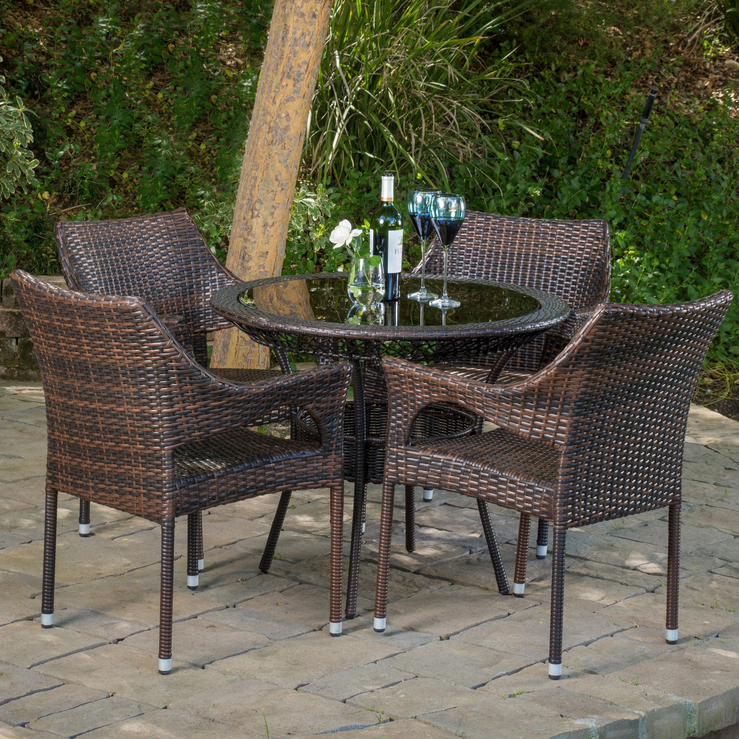 Great Mirage Outdoor 5 Piece Wicker Dining Set By Christopher Knight Home   Free  Shipping Today   Overstock   17235970