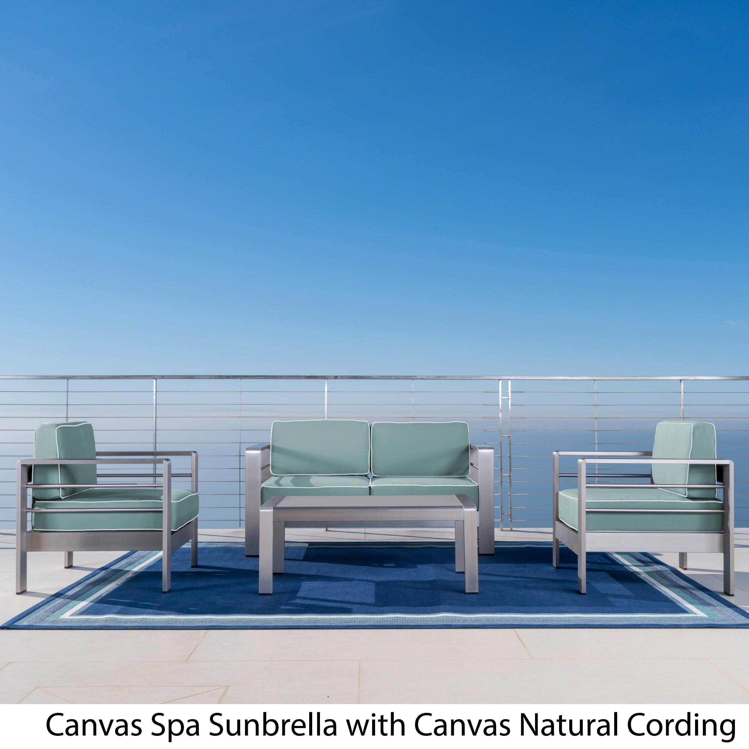 Shop Cape Coral Outdoor Aluminum 4-piece Loveseat Set with Optional ...