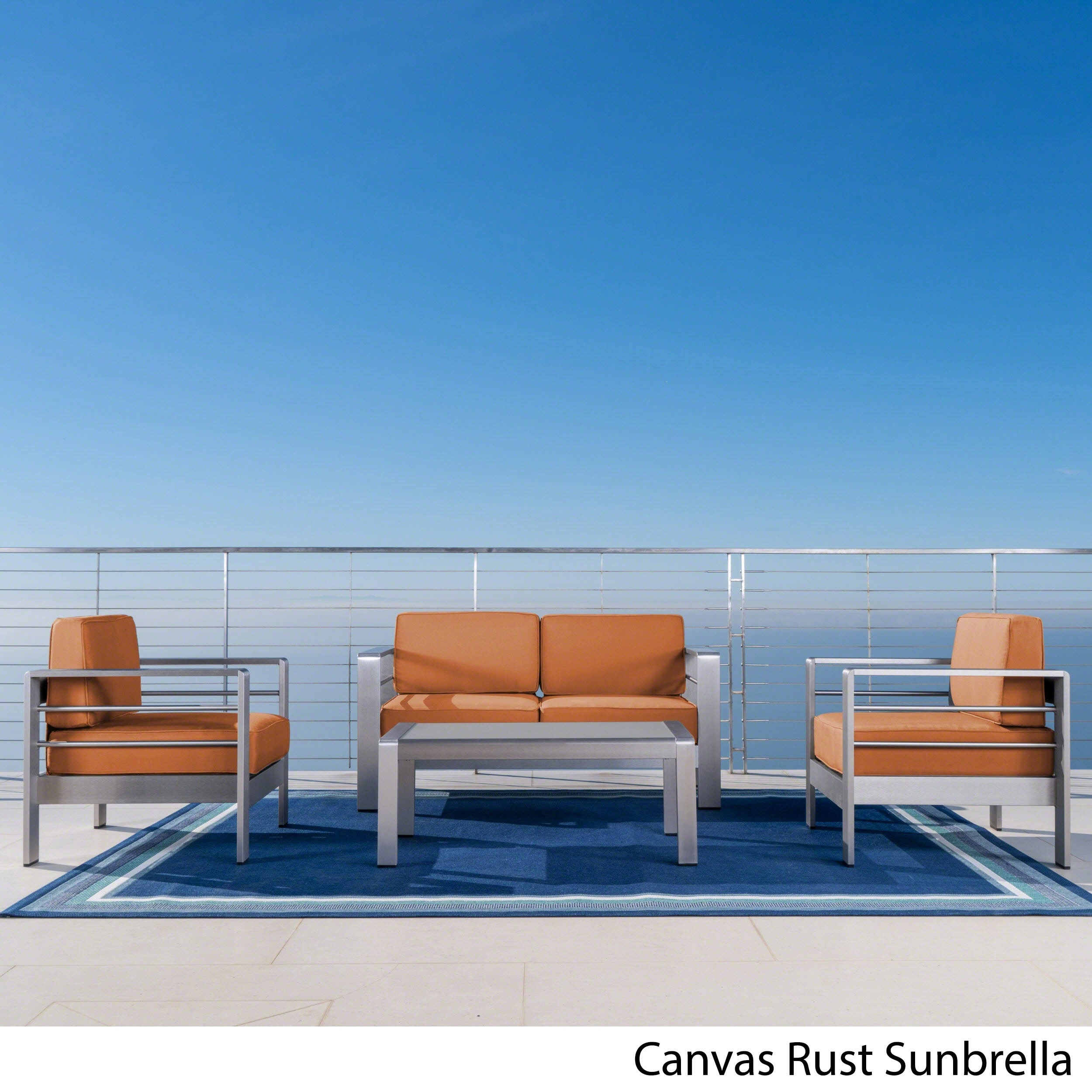 Cape C Outdoor Aluminum 4 Piece Loveseat Set With Optional Sunbrella Cushions By Christopher Knight Home On Free Shipping Today