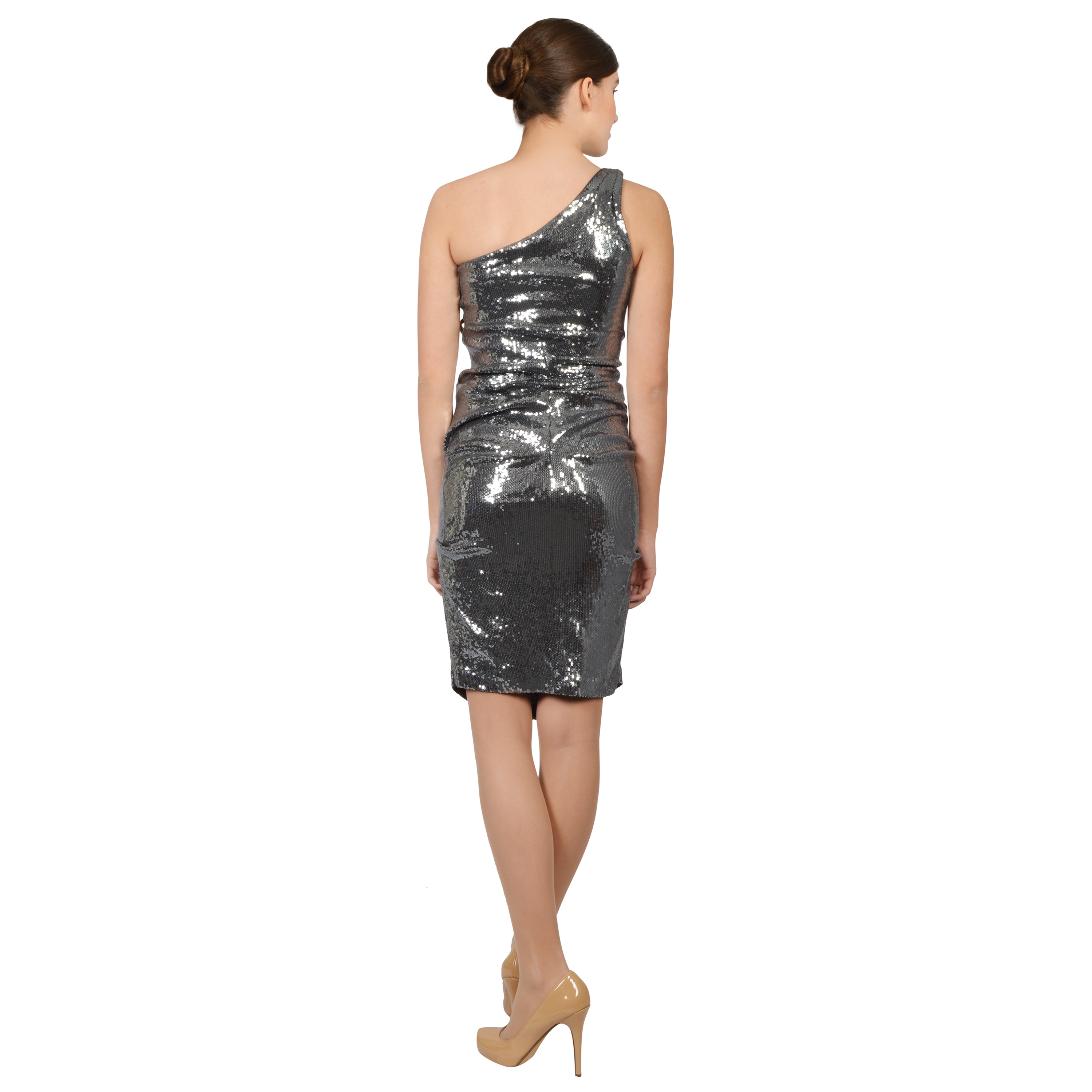 eb68ef4c803 Shop Nicole Miller Pewter Stretch Jersey Sequined One Shoulder Cocktail  Dress - Free Shipping Today - Overstock - 10095312
