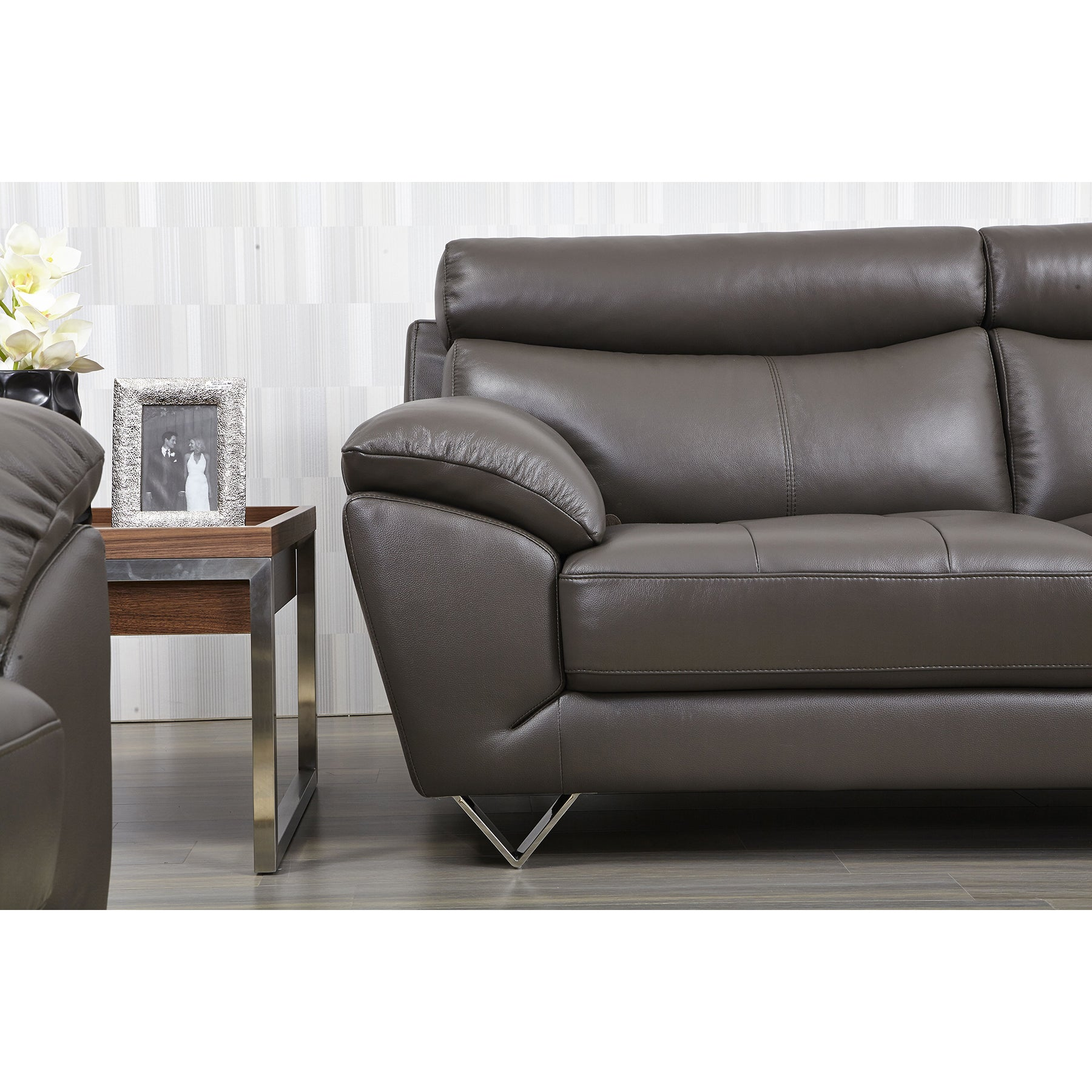 Luca Home Contemporary Grey Leather Match Sofa Free Shipping Today 10095455