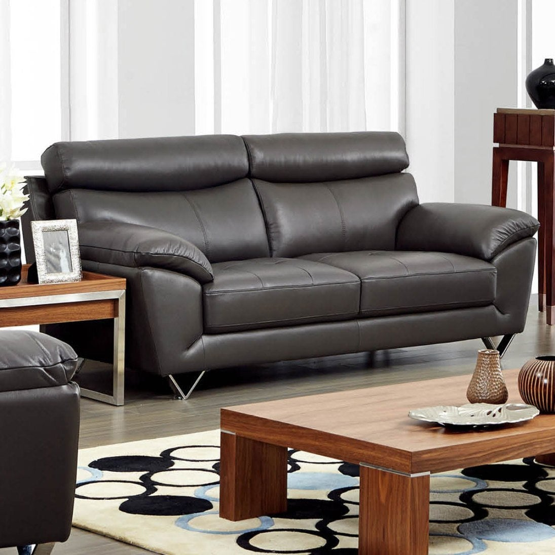 Luca Home Contemporary Grey Italian Leather Sofa   Free Shipping Today    Overstock.com   17236983