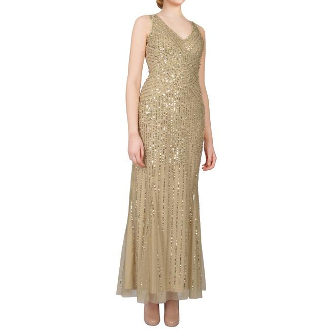 Shop Aidan Mattox Gold Sequin Tulle V-neck Sleeveless Long Evening ...