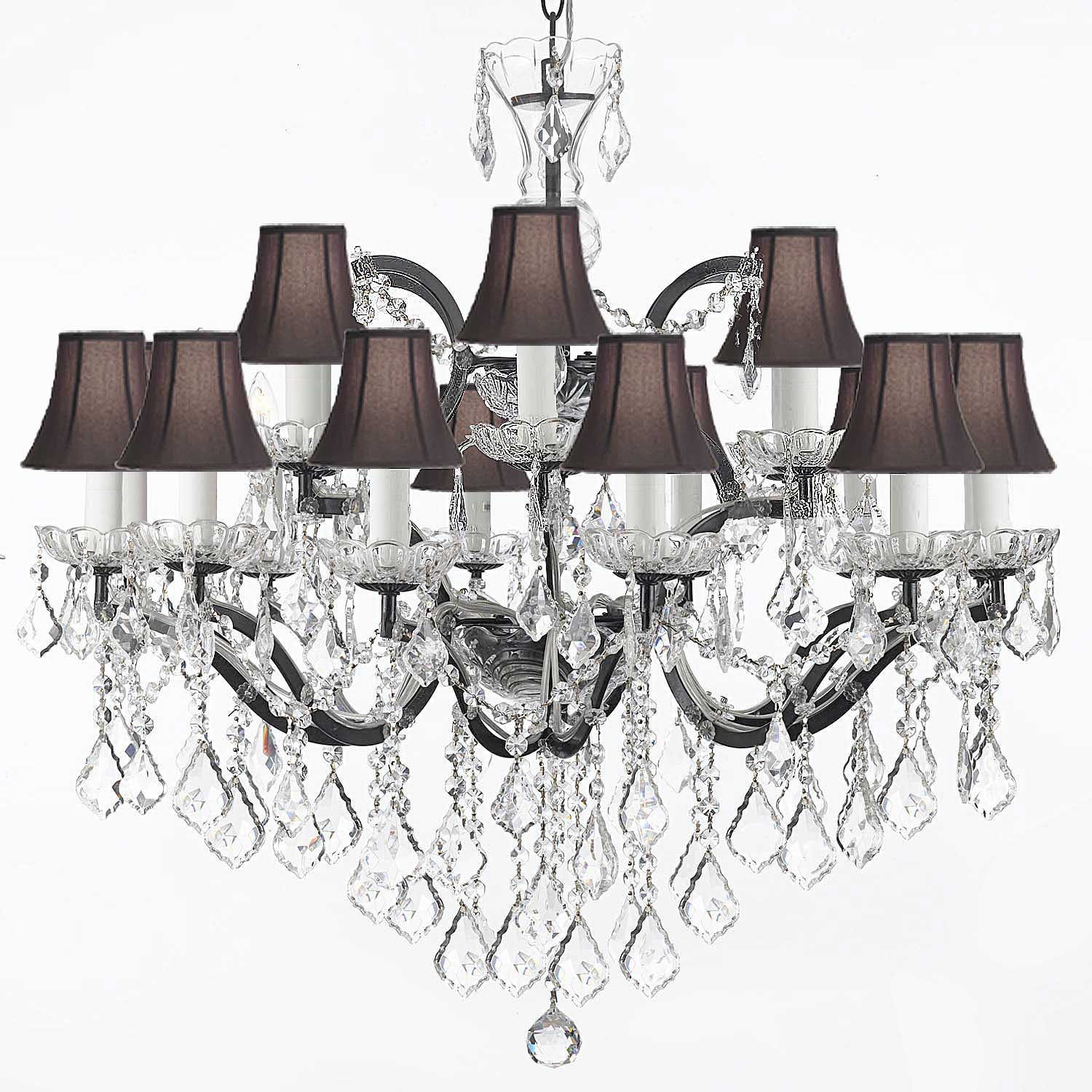19th C Rococo Wrought Iron and Crystal 18 Light Chandelier with