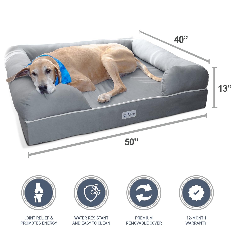 Shop PetFusion Premium Edition Ultimate Grey Memory Foam Dog Lounge ...