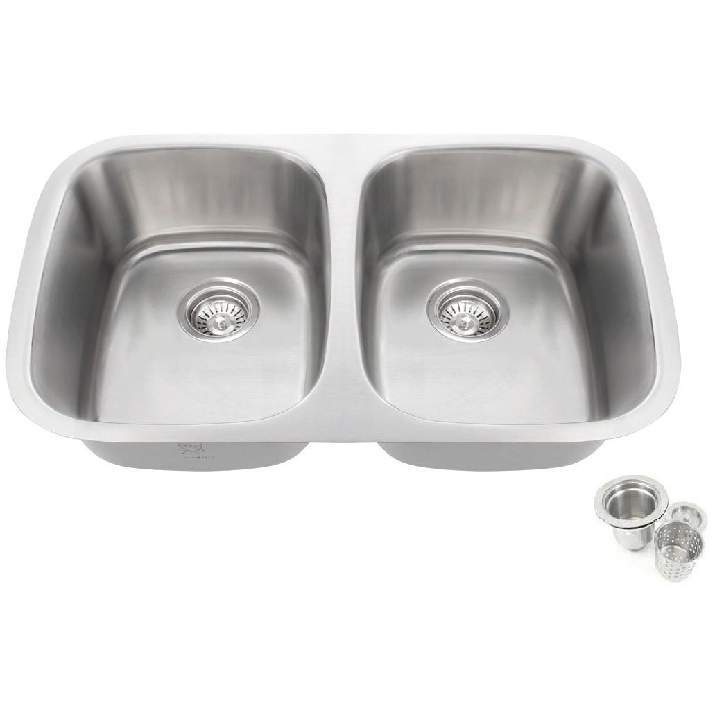 Shop 32 25 Inch Offset Double 50 50 Bowl Undermount Stainless Steel
