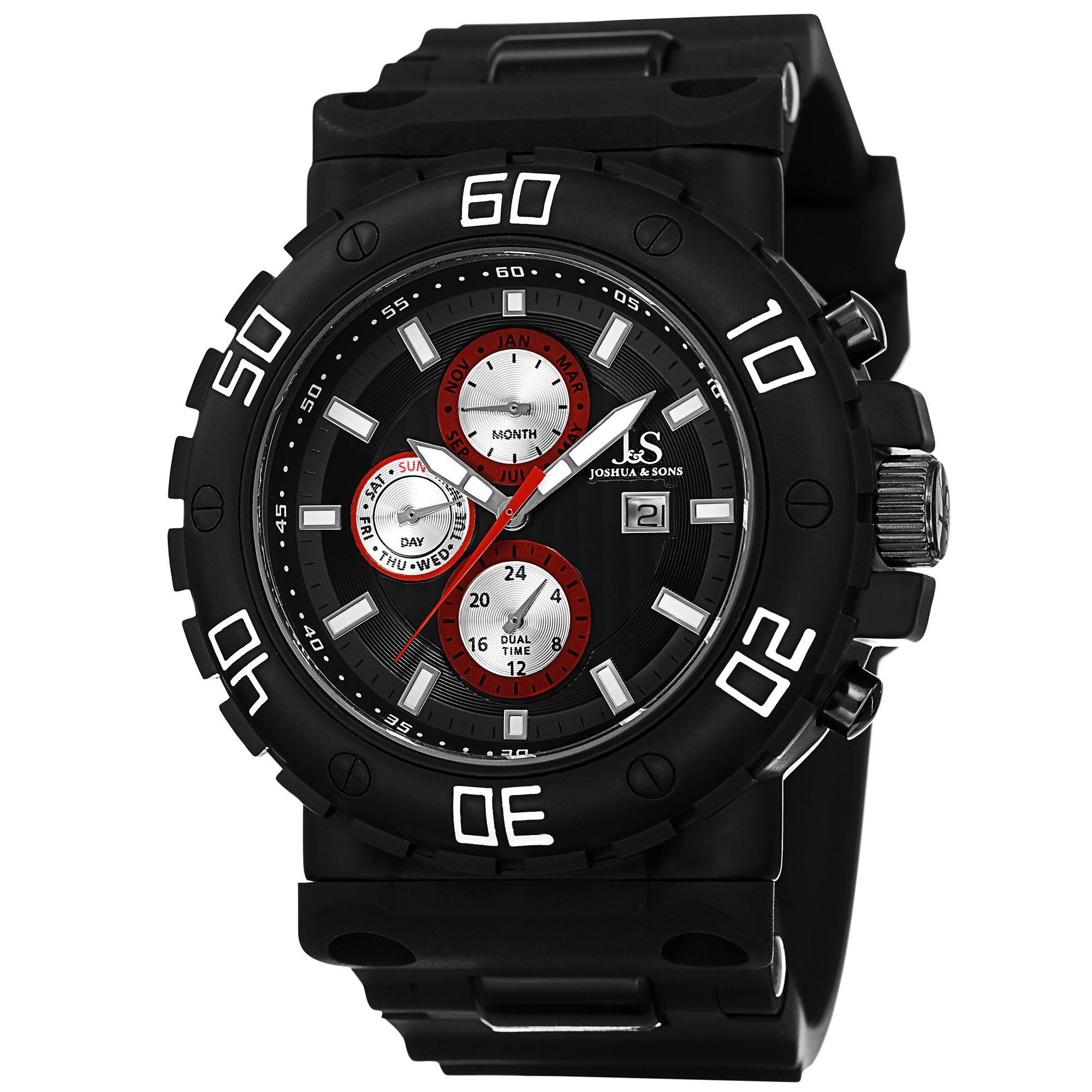 73b9ab6d336 Joshua   Sons Men s Swiss Quartz Multifunction Dual-Time Black Strap Watch