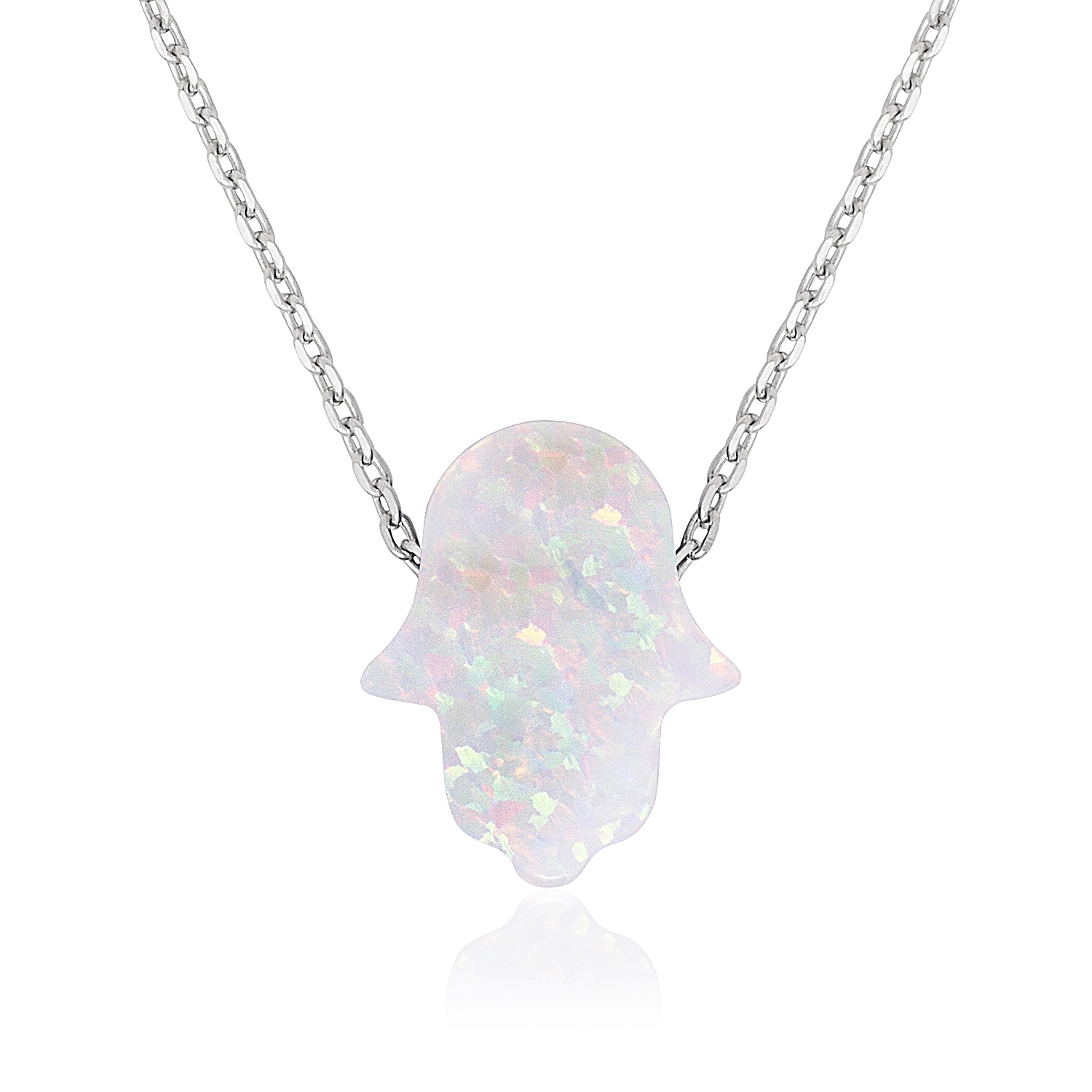 tjazelle necklace in sterling cleo opal white silver