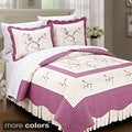 Serenta Prewashed 100-percent Cotton Embroidered Cherry Blossom 3-piece Bedspread Set