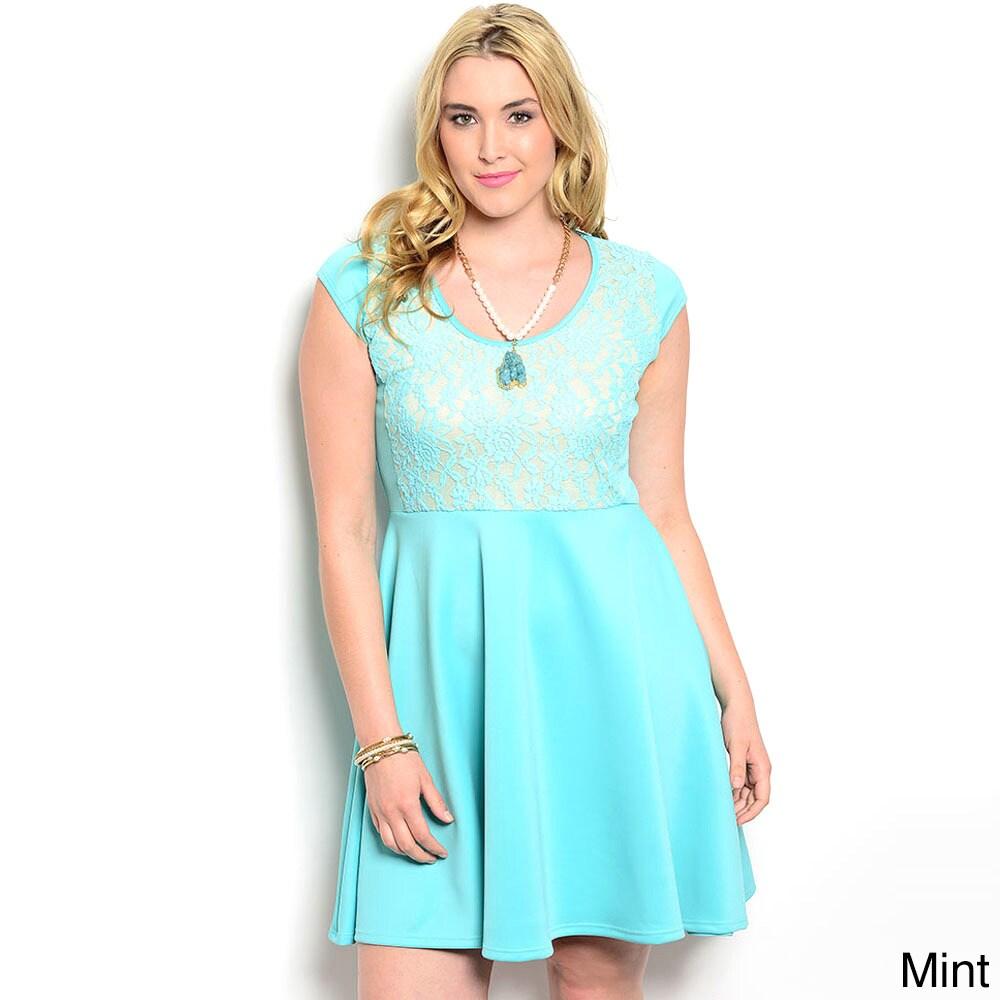 c2c9fb60f07 Shop Shop The Trends Women s Plus Size A-Line Lace Bodice Short ...