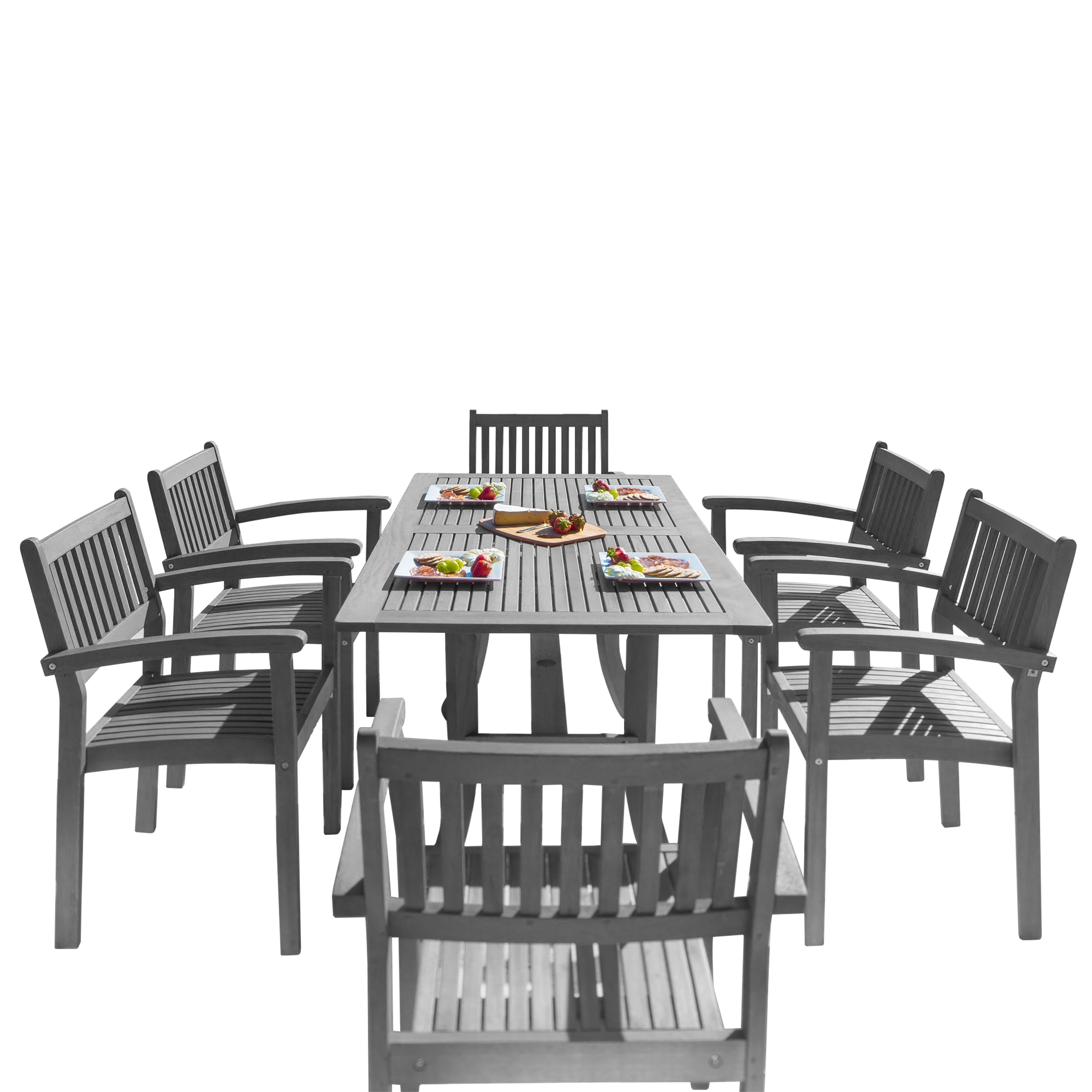 Exceptional 7 Piece Wood Outdoor Dining Set With Stacking Chairs   Free Shipping Today    Overstock   17243507