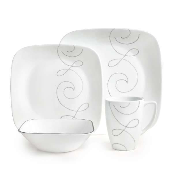 Corelle Square Endless Thread 16-piece Dinnerware Set - Free Shipping Today - Overstock - 17243821  sc 1 st  Overstock & Corelle Square Endless Thread 16-piece Dinnerware Set - Free ...