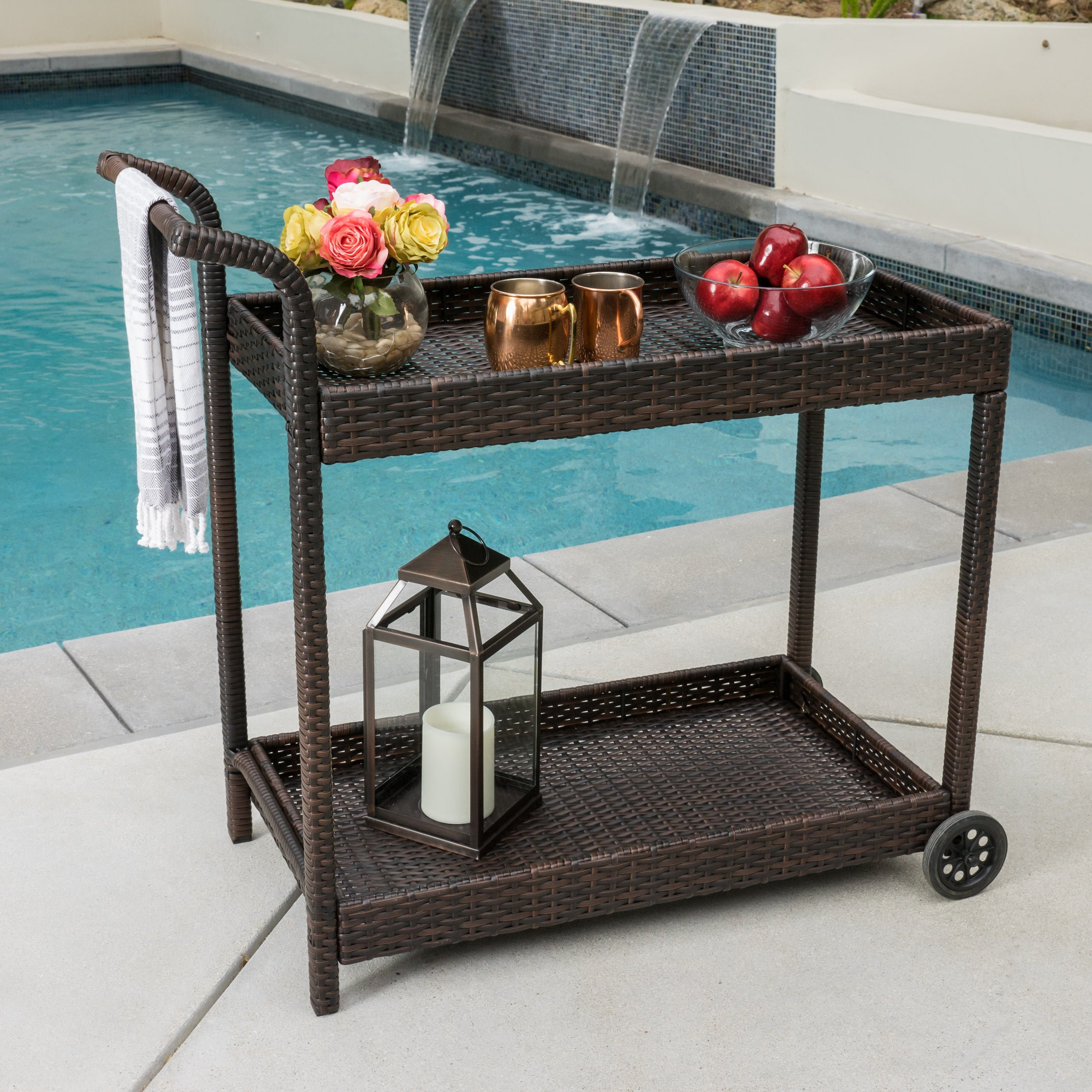 Savona Outdoor Wicker Bar Cart by Christopher Knight Home - Free ...