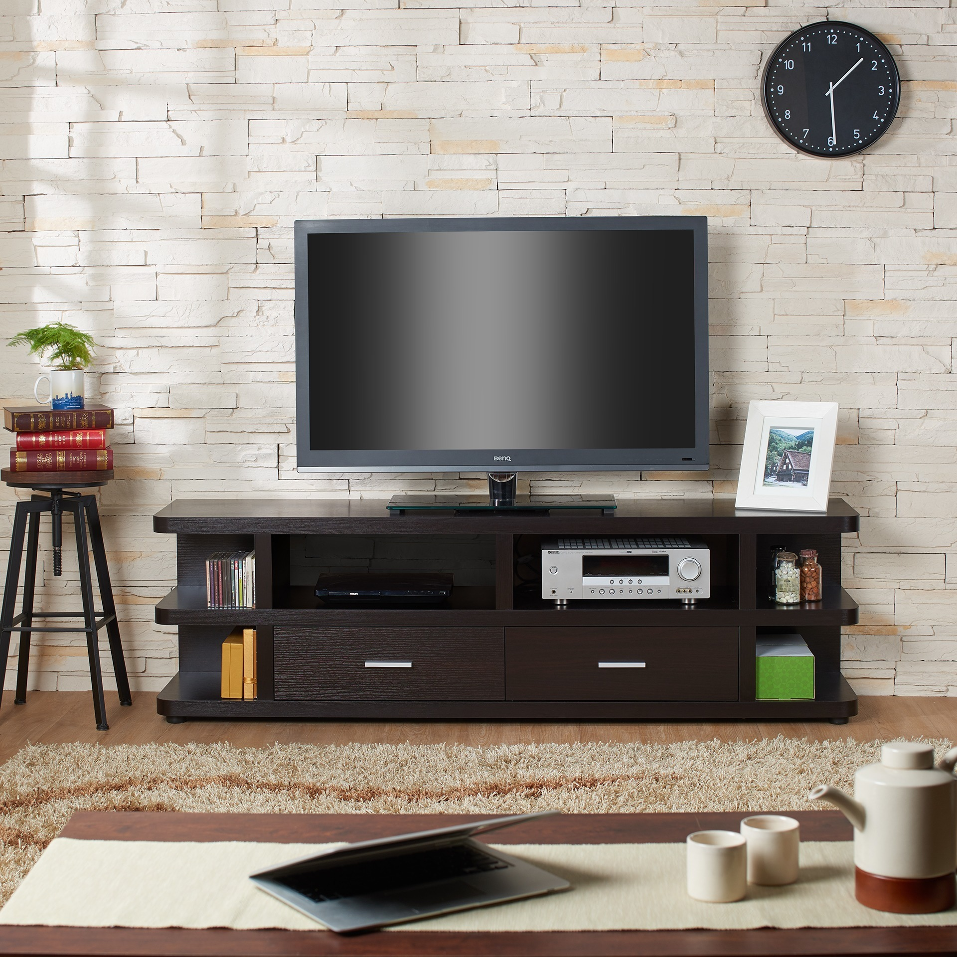 Furniture of America Elijah Contemporary 72 inch TV Stand Free