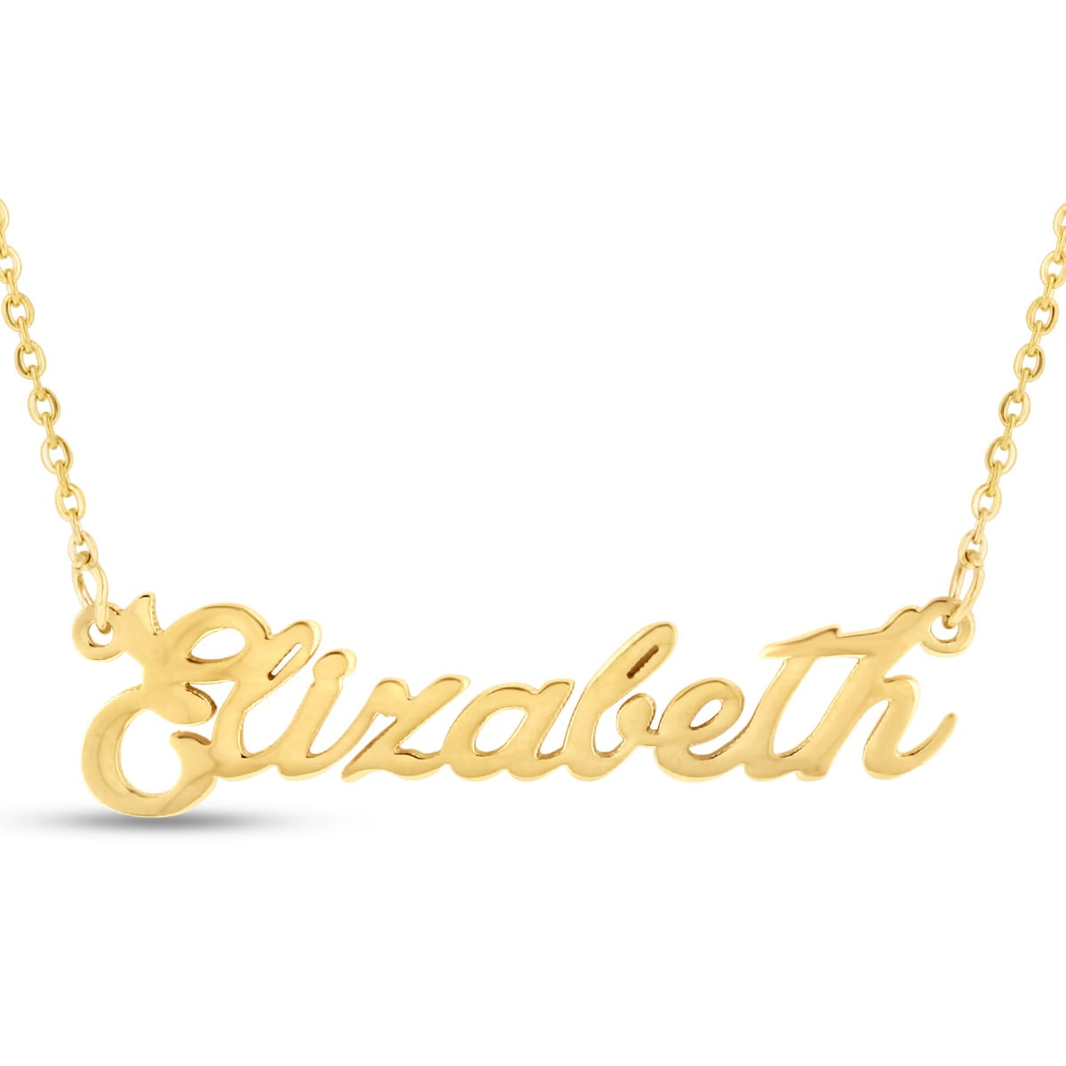 Gold Over Brass \'Elizabeth\' Nameplate Necklace - Free Shipping On ...
