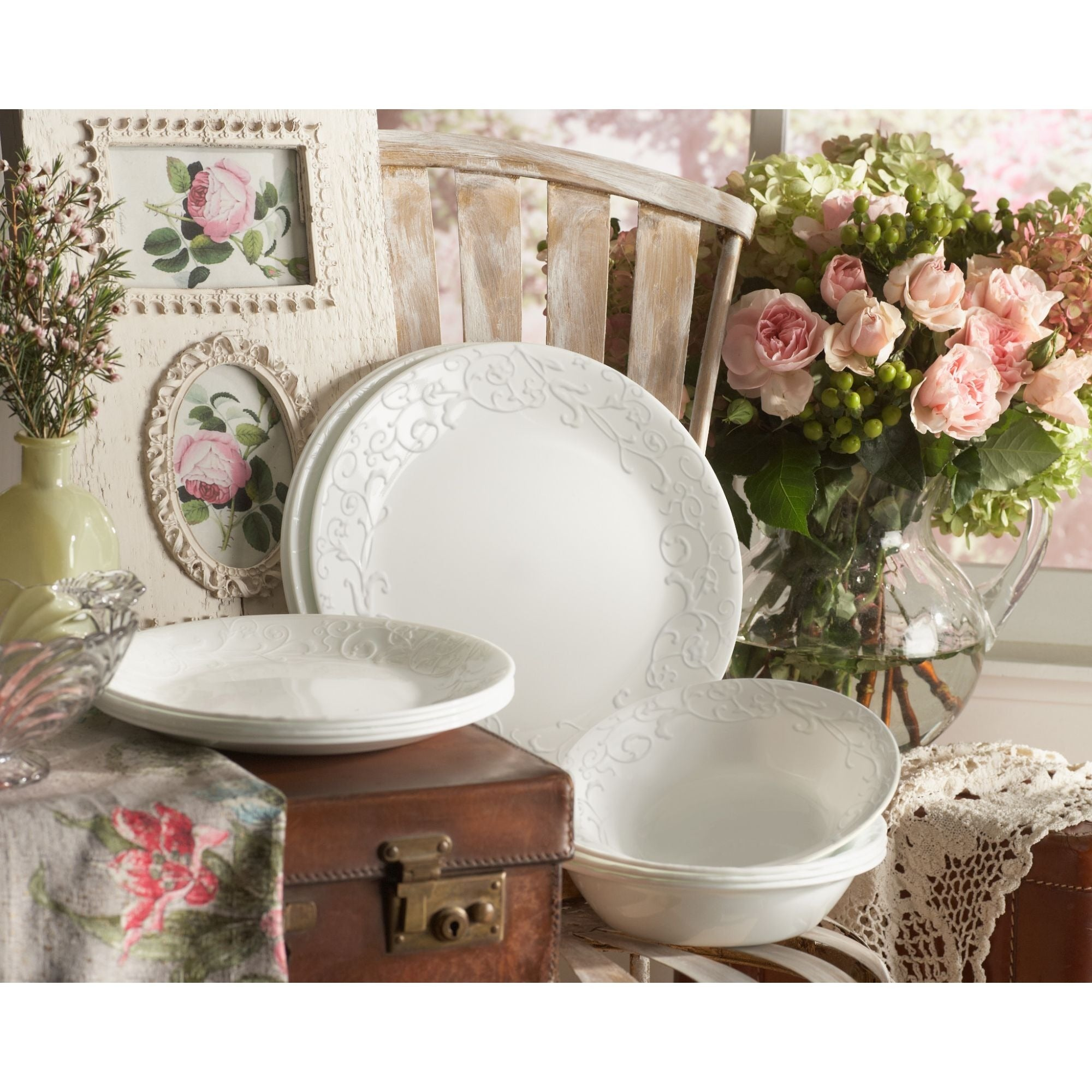 Corelle Embossed Bella Faenza White Vitrelle Glass 16-piece Dinnerware Set - Free Shipping Today - Overstock - 17245939  sc 1 st  Overstock.com & Corelle Embossed Bella Faenza White Vitrelle Glass 16-piece ...