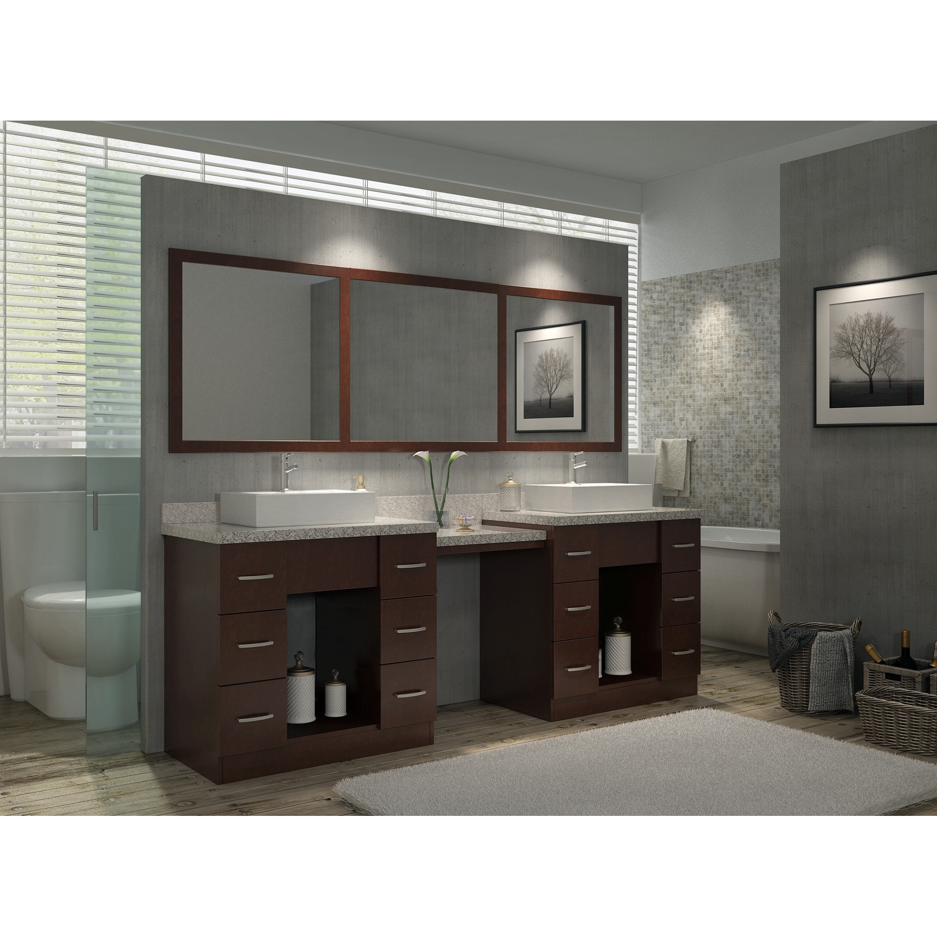 66 Inch Double Sink Vanity. Roosevelt 97 inch Double Sink Vanity Set in Walnut with Makeup Table  Free Shipping Today Overstock com 17246048
