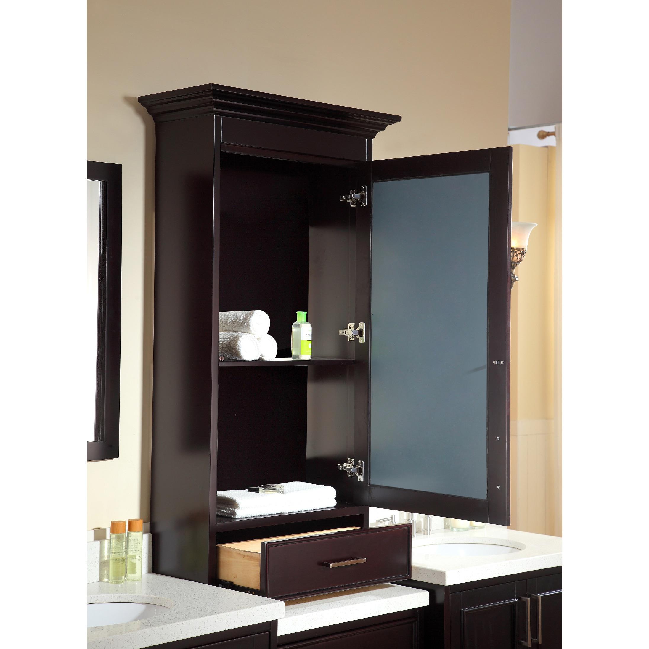 ARIEL Stafford 85 inch Double Sink Espresso Vanity Set with Center