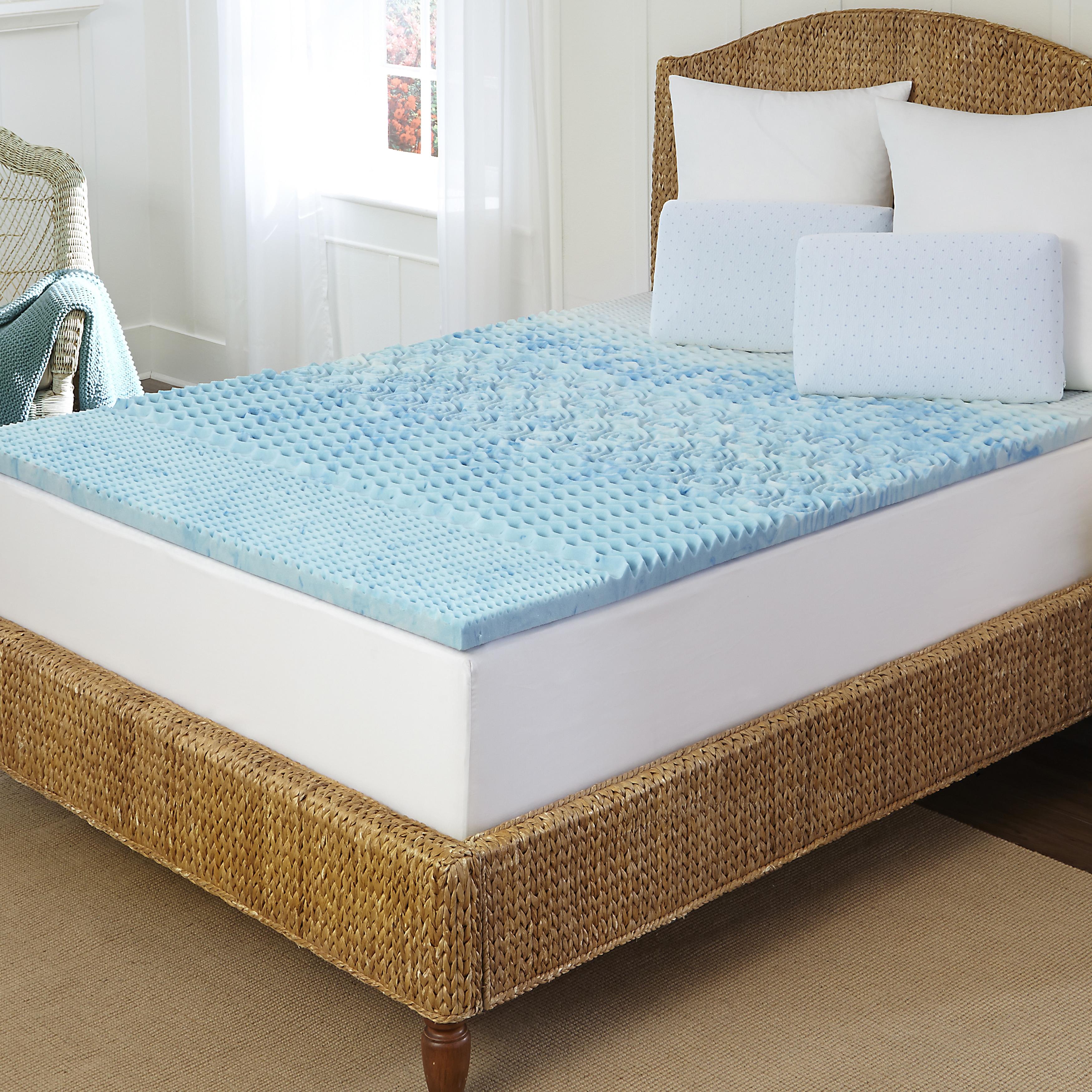 Arctic Sleep Marbleized 5-zone Gel Memory Foam Topper - Free ...