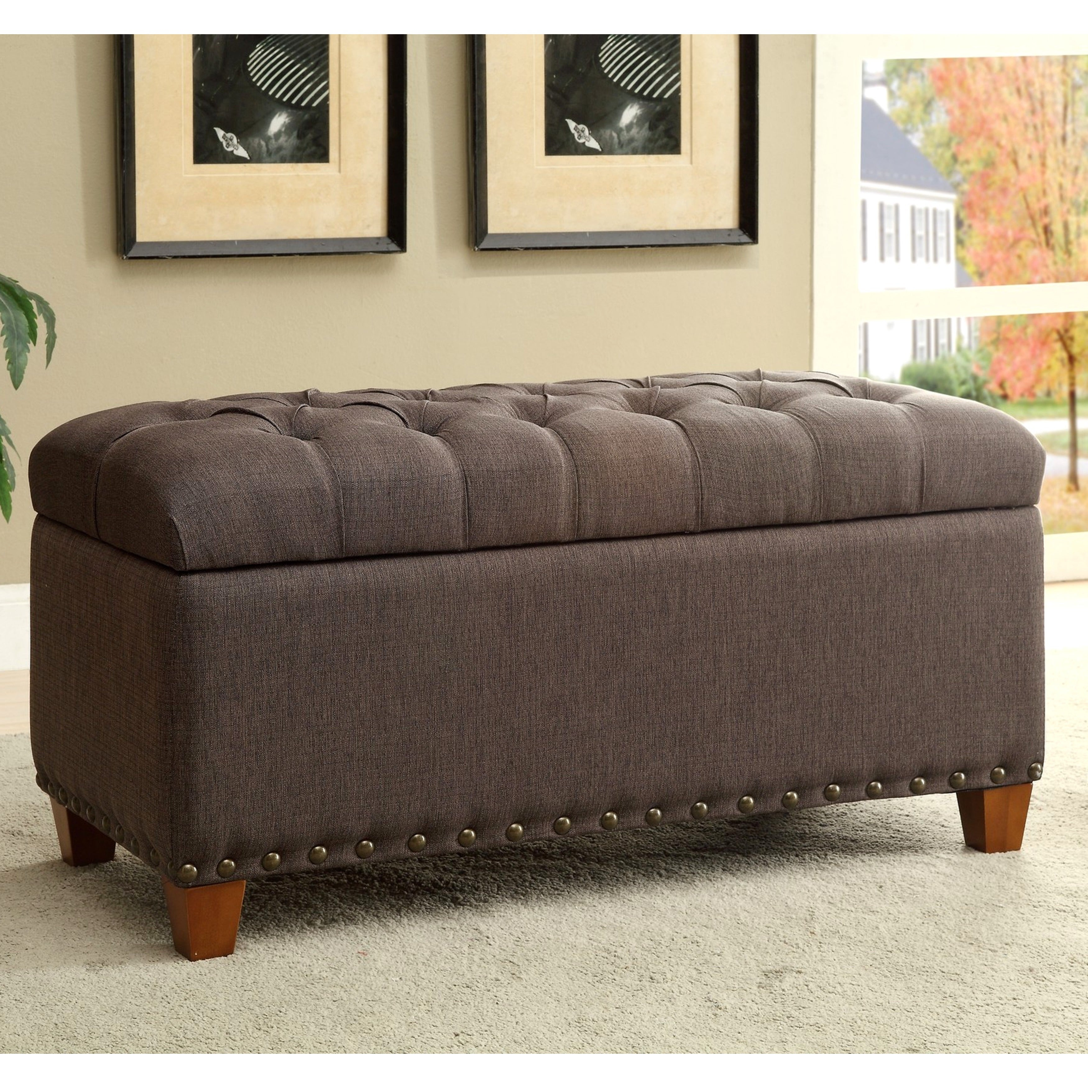 Tosin Nailhead Tufted Storage Ottoman/ Bench   Free Shipping Today    Overstock.com   17246136