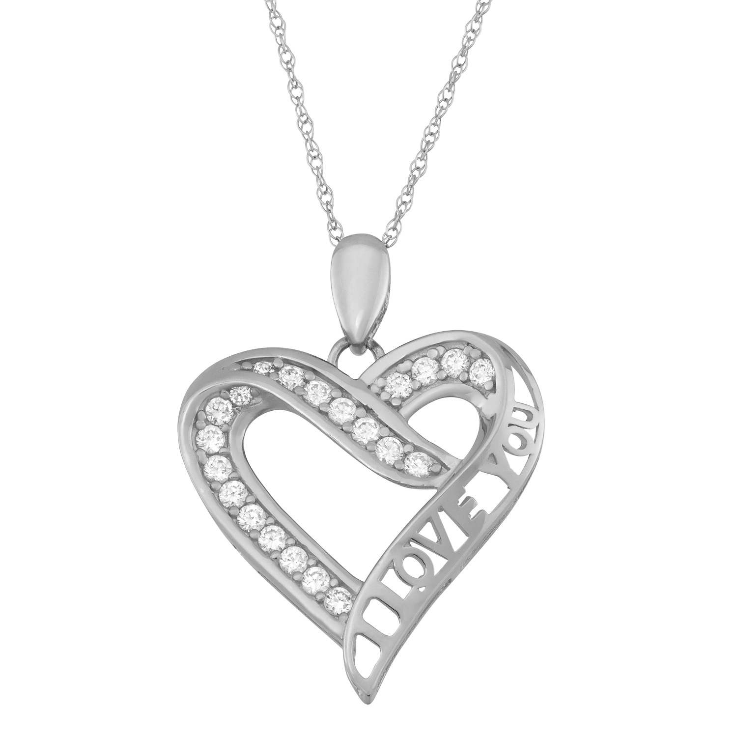 Fine Jewelry 14K Yellow Gold over Silver Crystal and Cubic Zirconia Love Heart Pendant Necklace GT2m5
