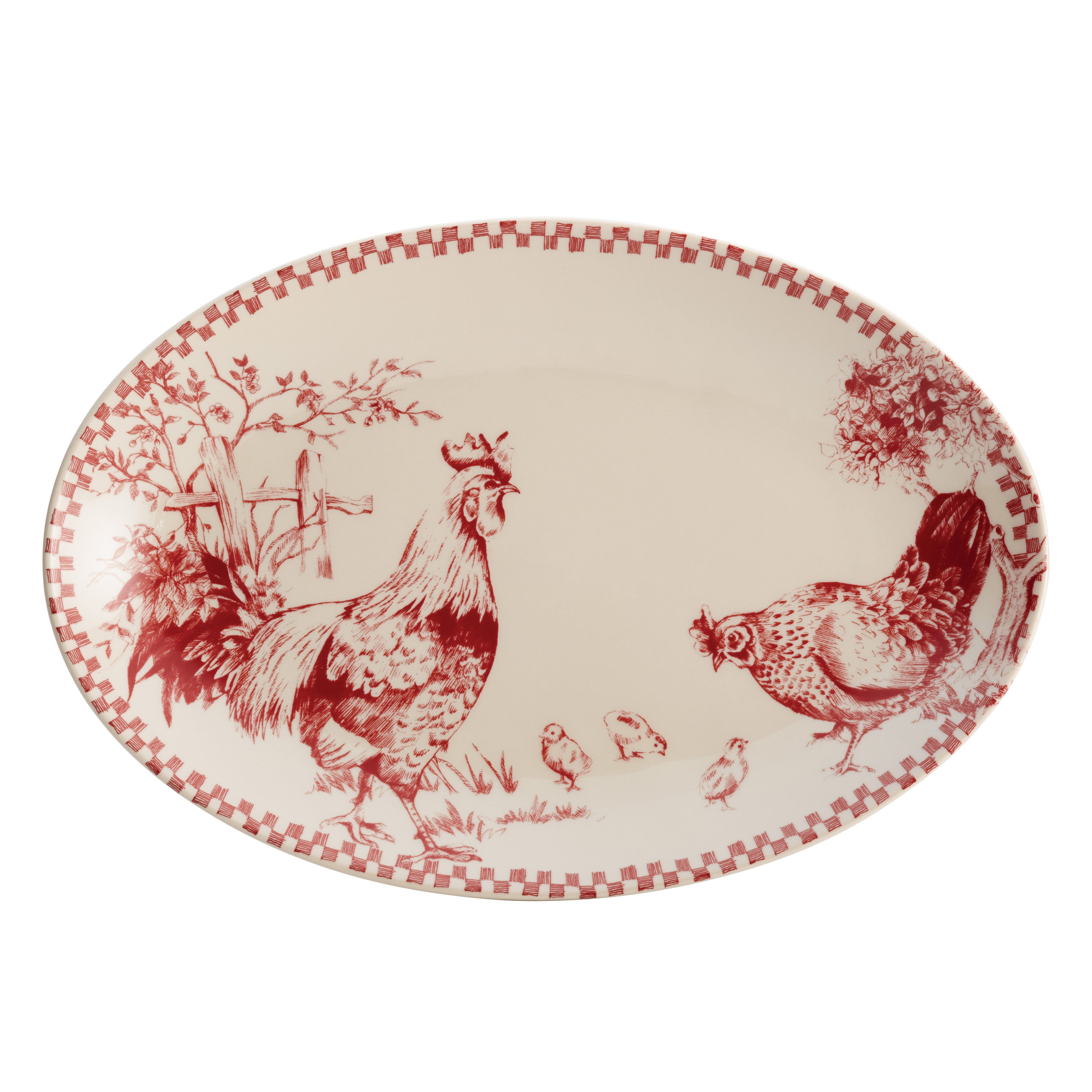 BonJour Dinnerware Chanticleer Country 9-Inch x 13-Inch Stoneware Oval Platter Burgundy Red - Free Shipping On Orders Over $45 - Overstock.com - 17248841  sc 1 st  Overstock & BonJour Dinnerware Chanticleer Country 9-Inch x 13-Inch Stoneware ...