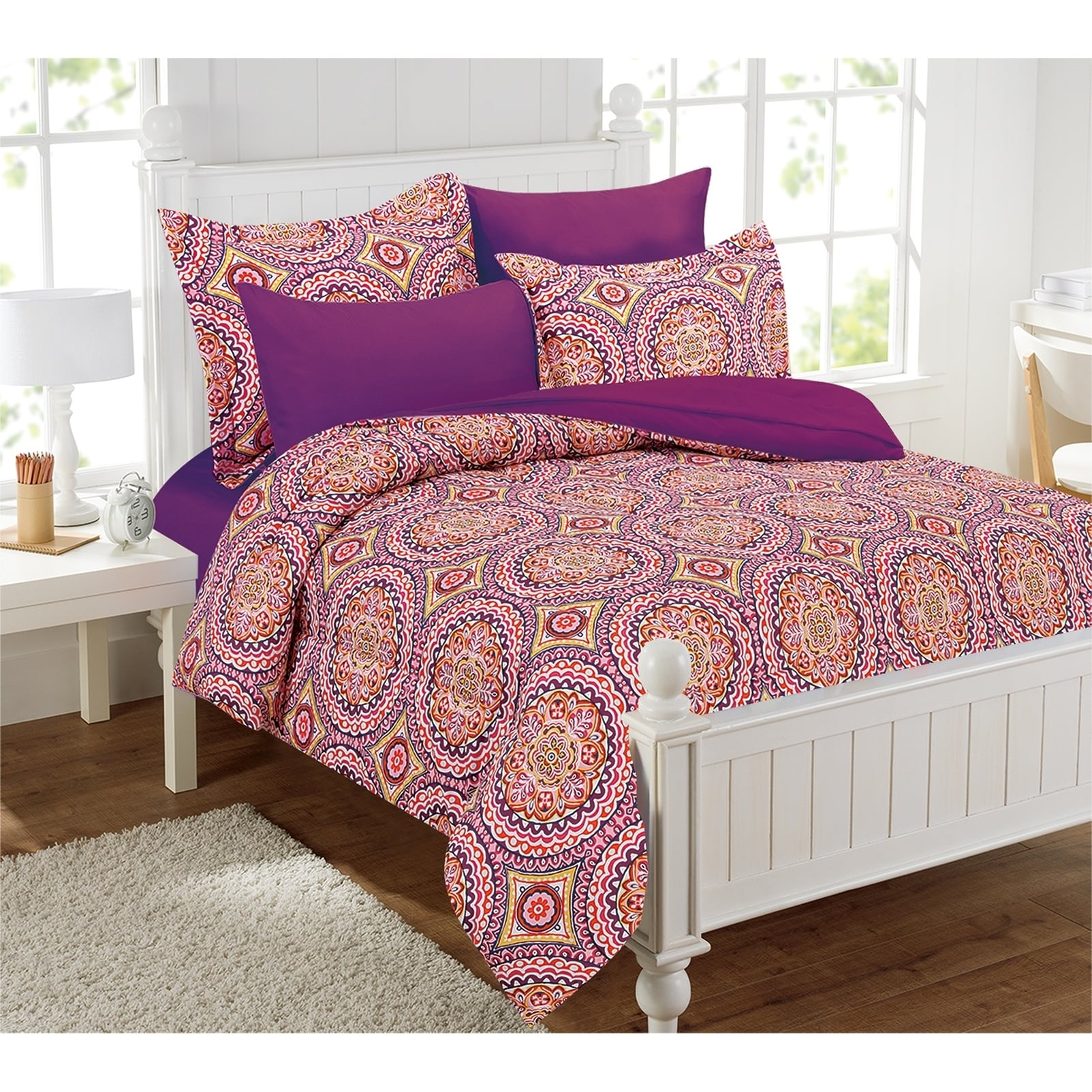 Shop Thalia Purple Medallion Bed In A Bag With Extra Sheet Set   Ships To  Canada   Overstock.ca   10108536
