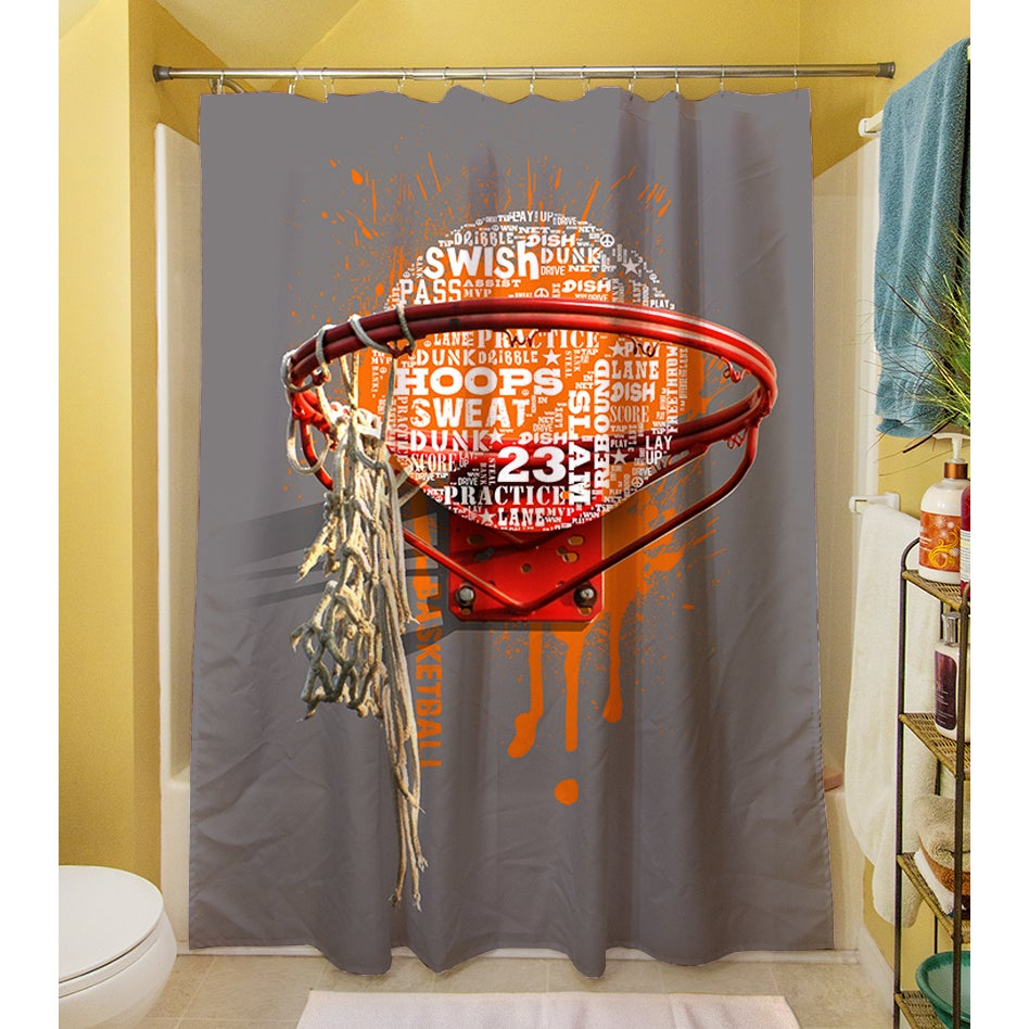Basketball Words In Hoop Shower Curtain   Free Shipping Today    Overstock.com   17248695