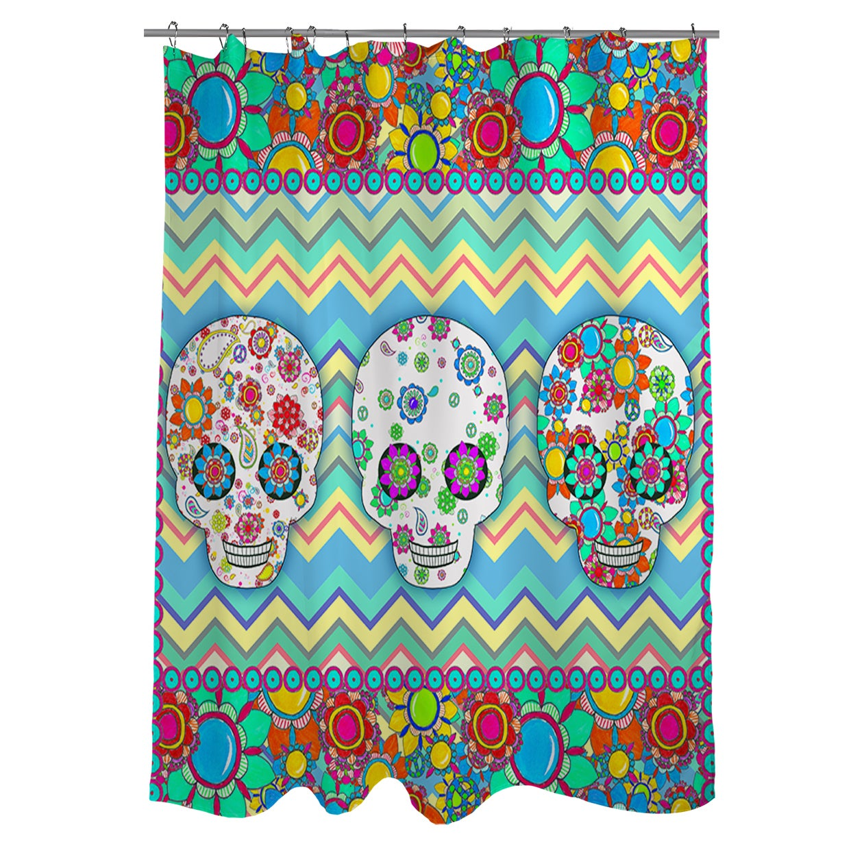 Sugar Skull Chevron Box Shower Curtain - Free Shipping Today ...