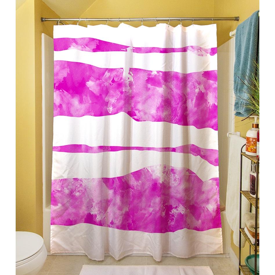 Shop Summer Florals Pink Stripe Shower Curtain