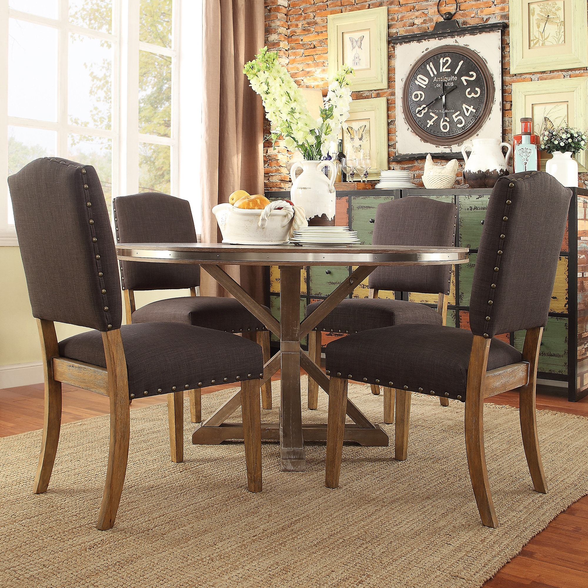 Abbott Rustic Stainless Steel Strap Oak Trestle Dining Table By Inspire Q Free Shipping Today 10111071