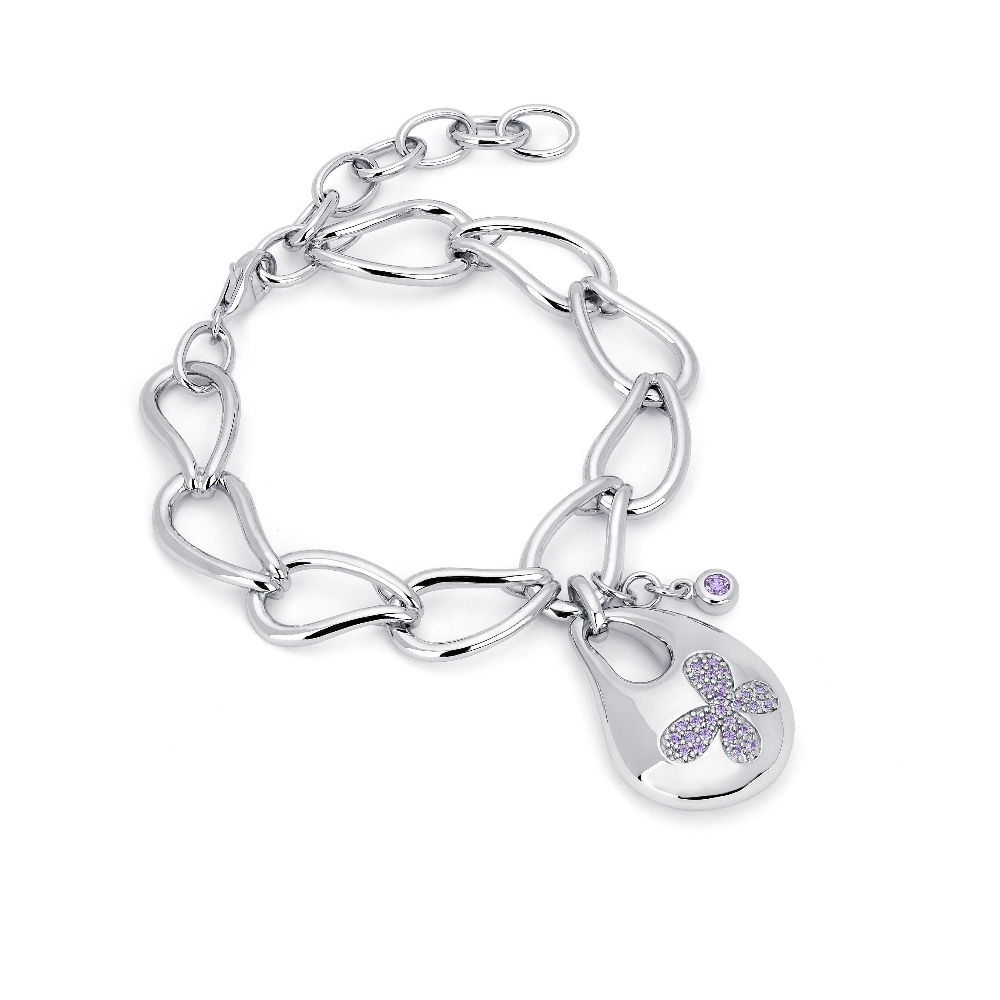 68d729e2f Shop Lotopia 925 Sterling Silver Purple Swarovski elements Zirconia Bold  Butterfly Bracelet - On Sale - Free Shipping Today - Overstock - 10111983