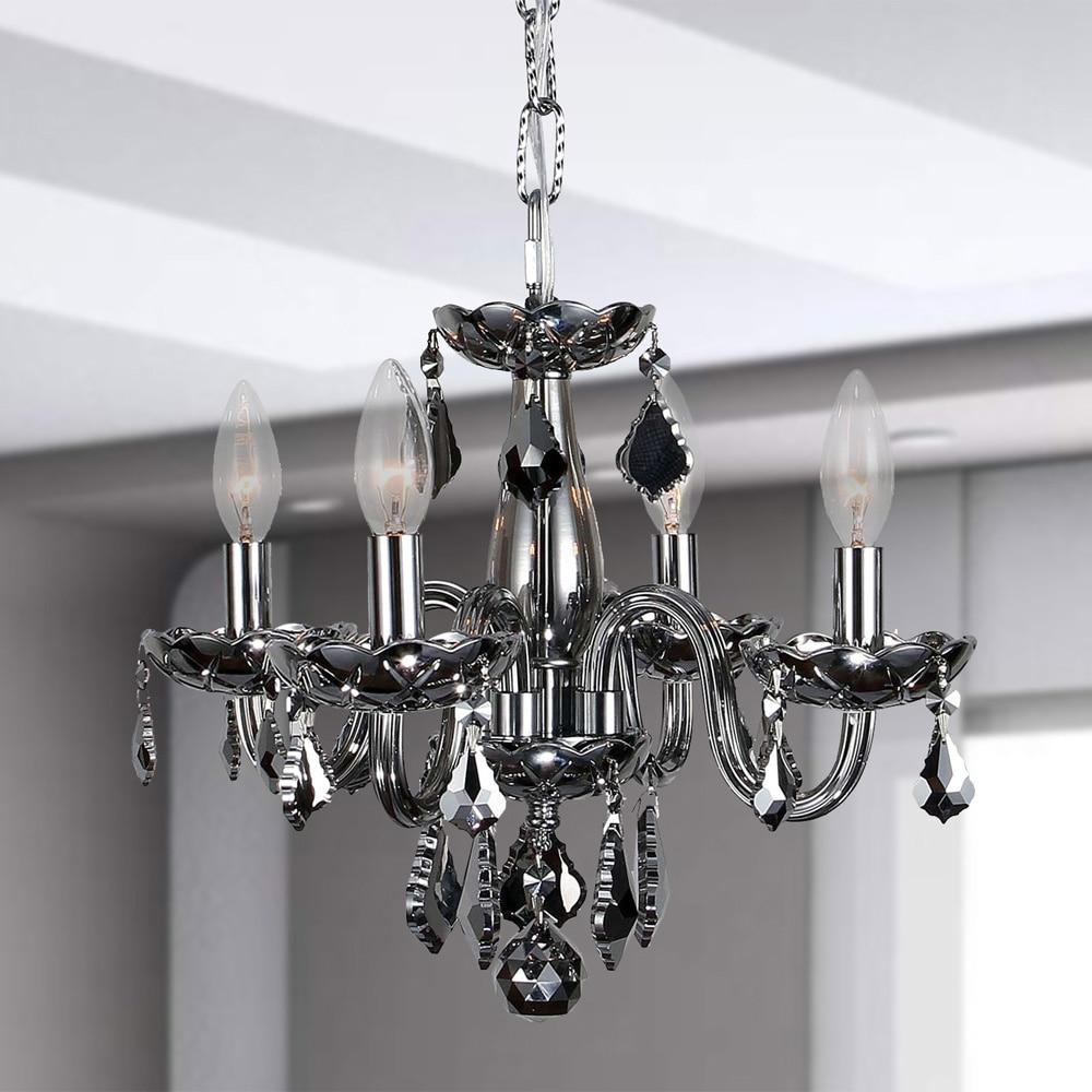Kids room chandelier 4 light full lead chrome crystal chrome finish 16 inch mini chandelier