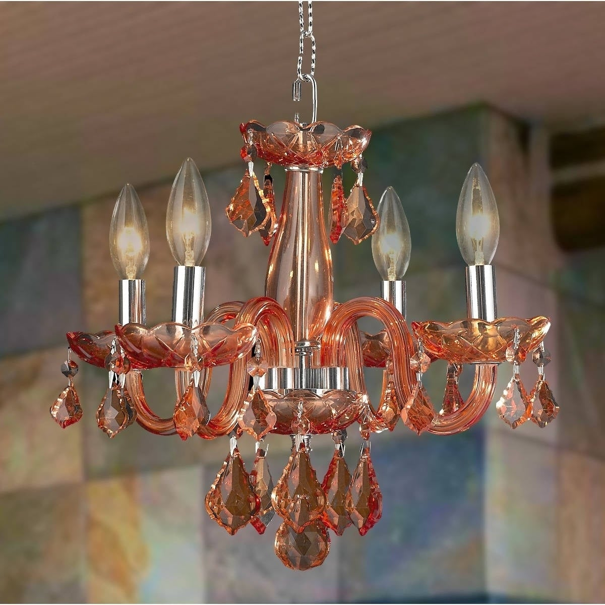 Kids room chandelier coral 4 light full lead coral red crystal chrome finish chandelier