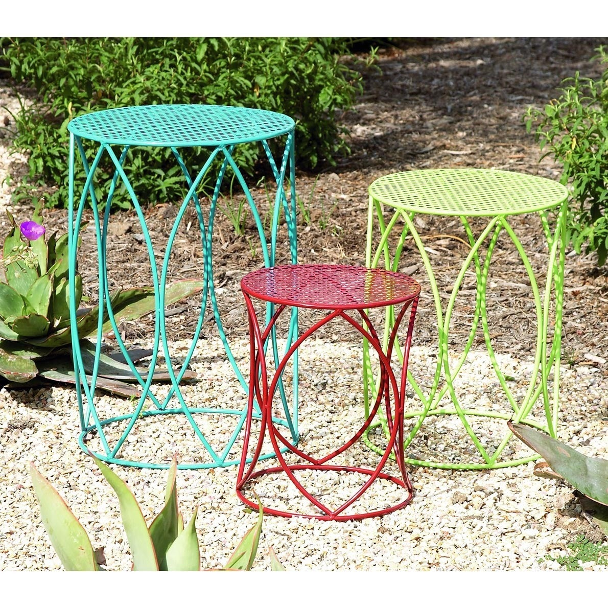 Multi Colored 15 Inch Metal Plant Stand Set Of 3 Free Shipping Today 10116246