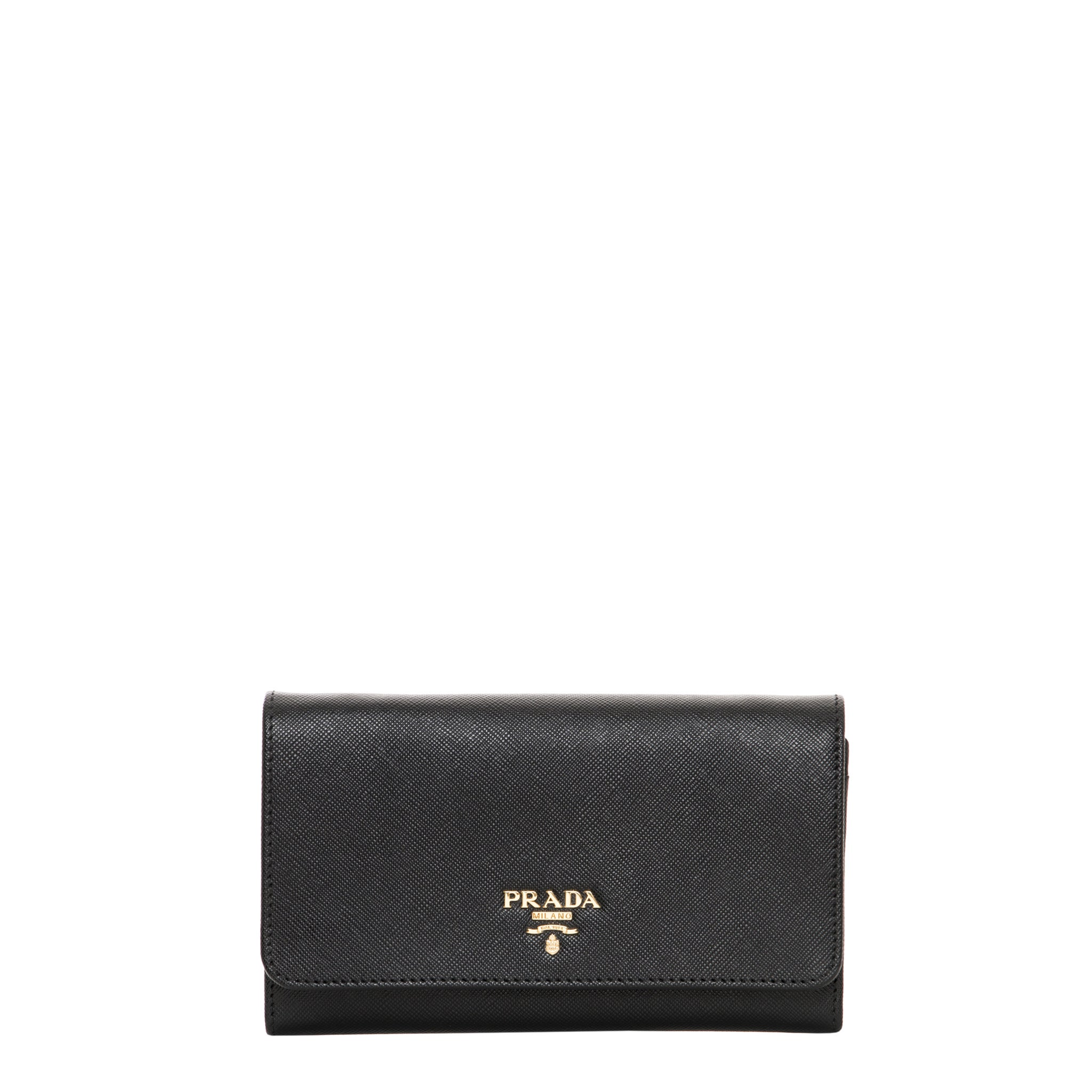 1342d203398b62 Shop Prada Saffiano Leather Flap Wallet with Strap - Free Shipping Today -  Overstock - 10116733