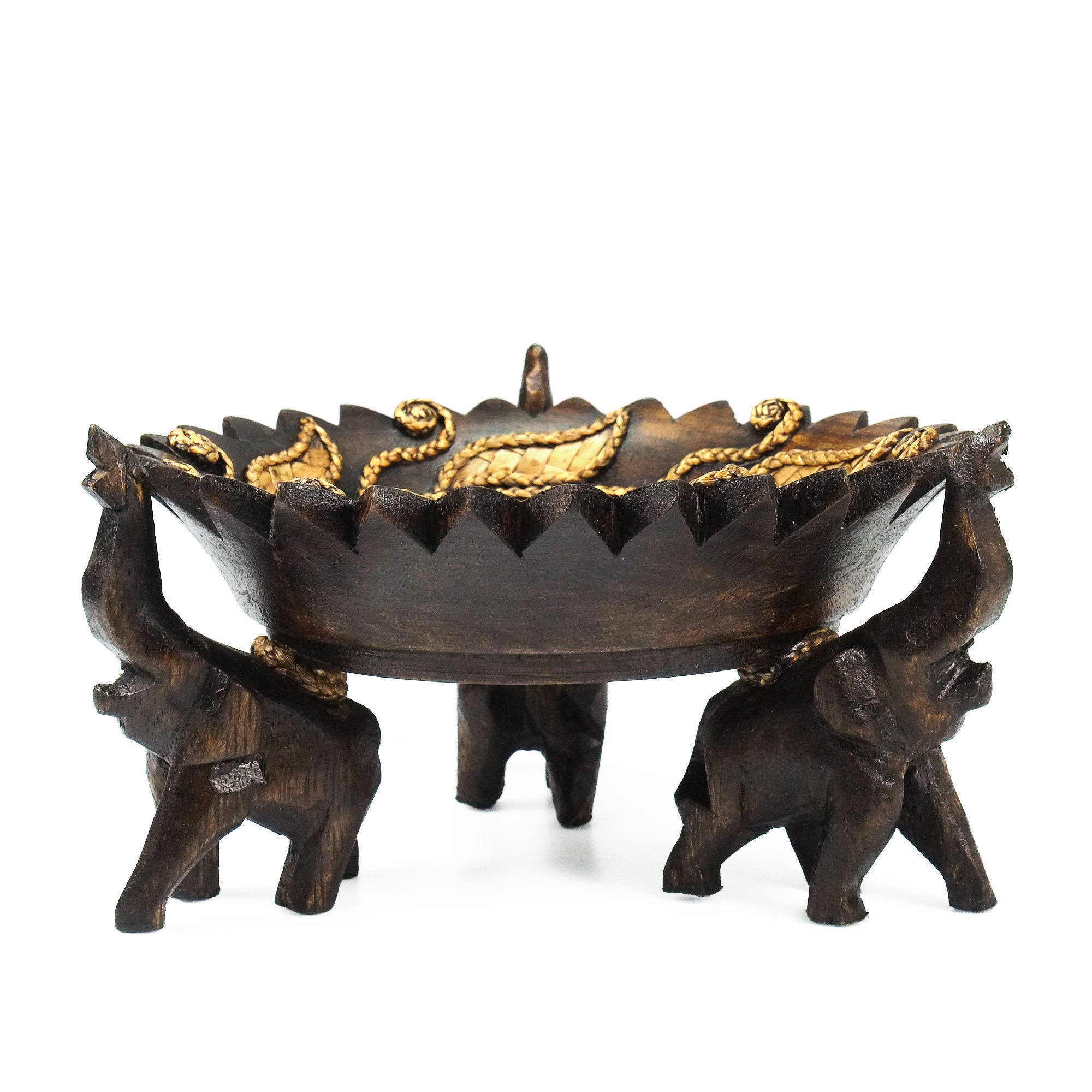Handmade Elephant Leaves Carved Rain Tree Circular Wooden Tray Thailand