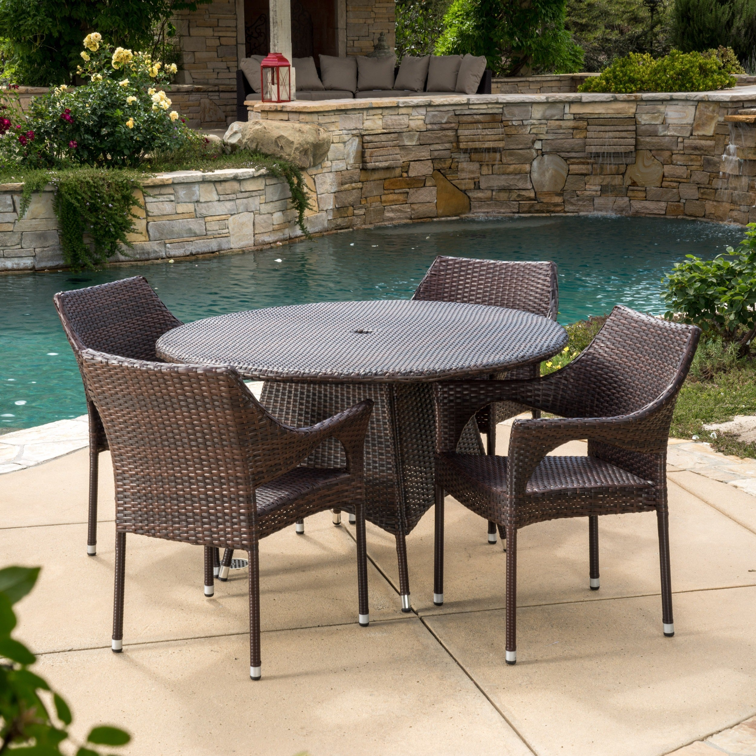 Armstrong Outdoor Multi Brown 5 Piece Dining Wicker Set By Christopher Knight Home Free Shipping Today 17256281