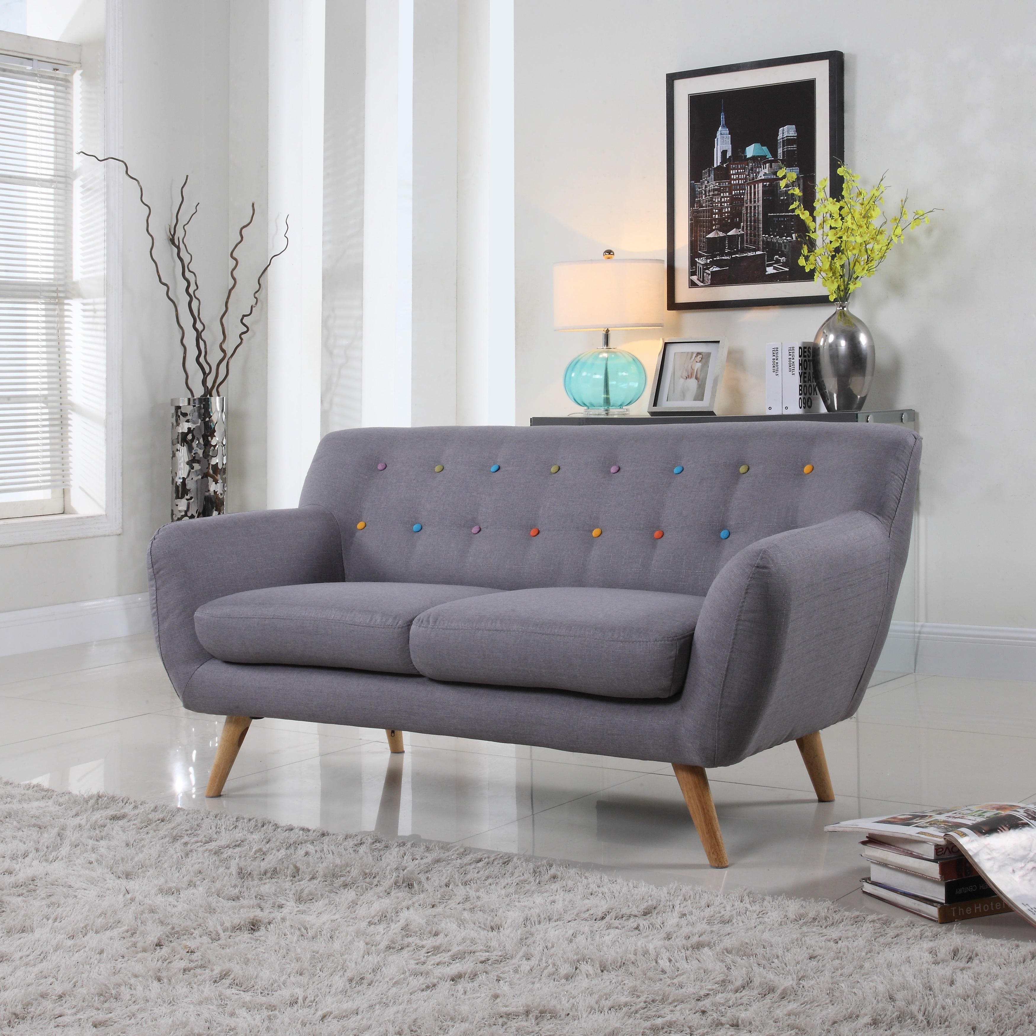 Mid Century Modern Love Seat Living Room Furniture Assorted Colors