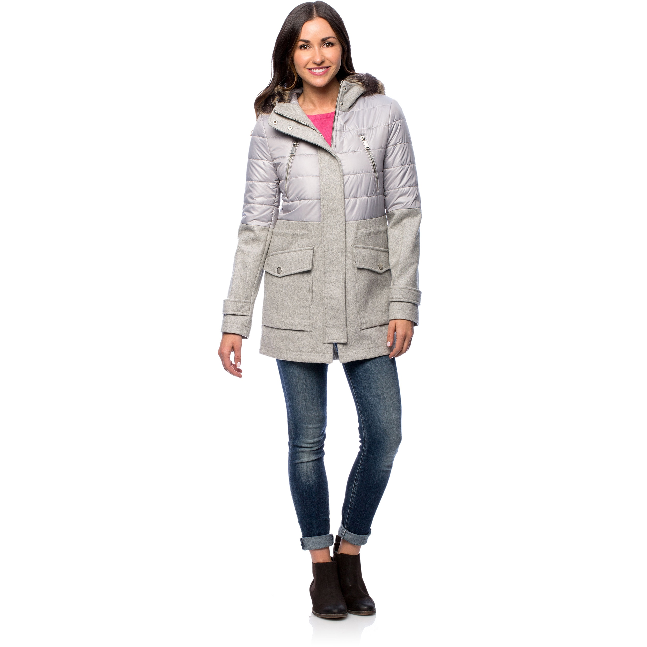 7733f481dcfc0 Shop BCBG Mixed Media Faux Fur Hooded Anorak Coat - Free Shipping Today -  Overstock - 10118417