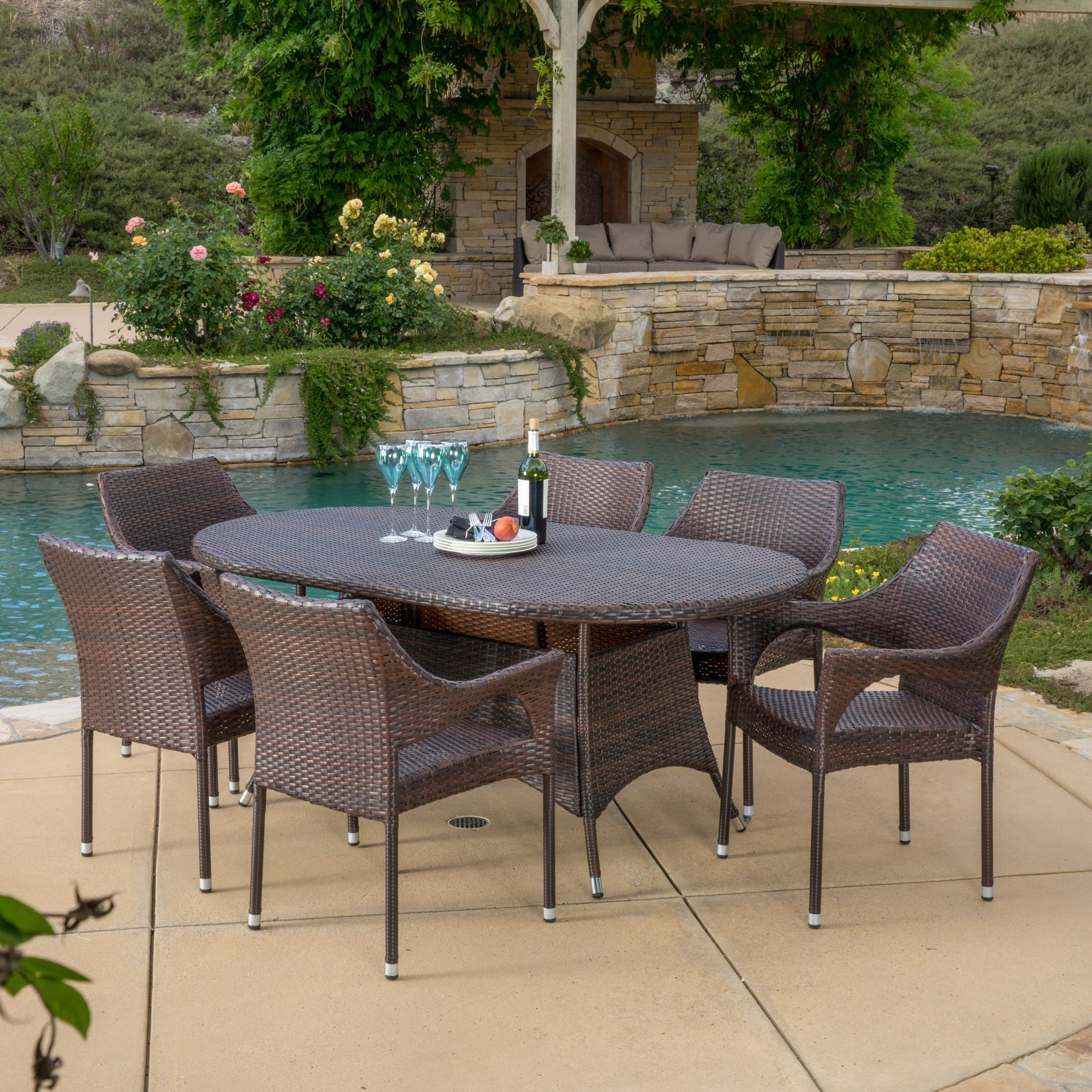 Shop Lennox Outdoor 7 Piece Wicker Dining Set By Christopher Knight Home    On Sale   Free Shipping Today   Overstock.com   10118997
