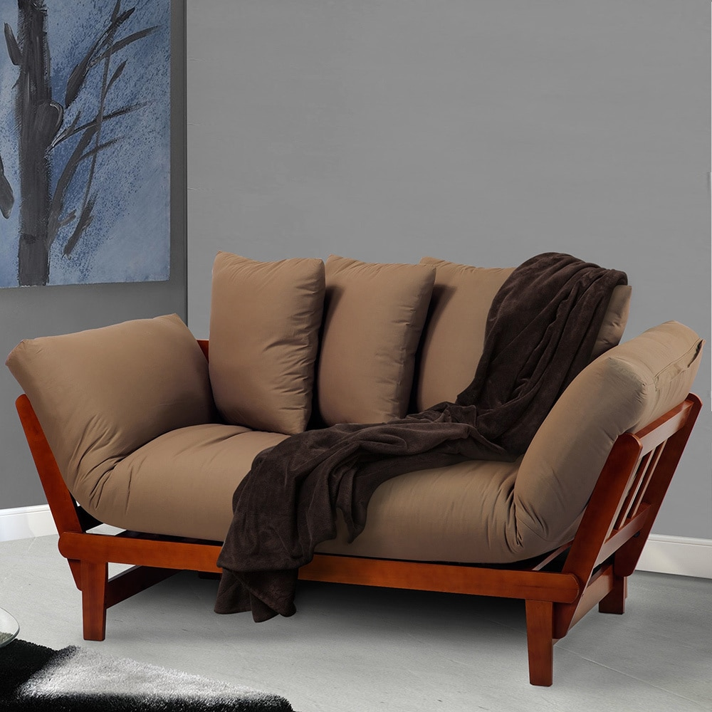 Marvelous Casual Lounger Wood Frame Sofa Bed   Free Shipping Today   Overstock    17258068